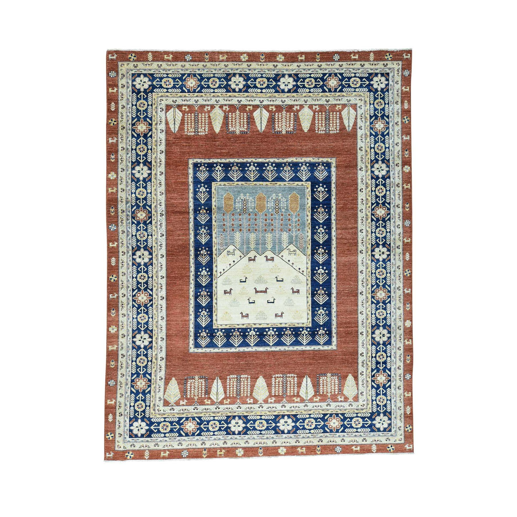 One-of-a-Kind Grabowski Hand-Knotted Rust Red/Navy Blue Area Rug Rug Size: Rectangle 9' x 12'