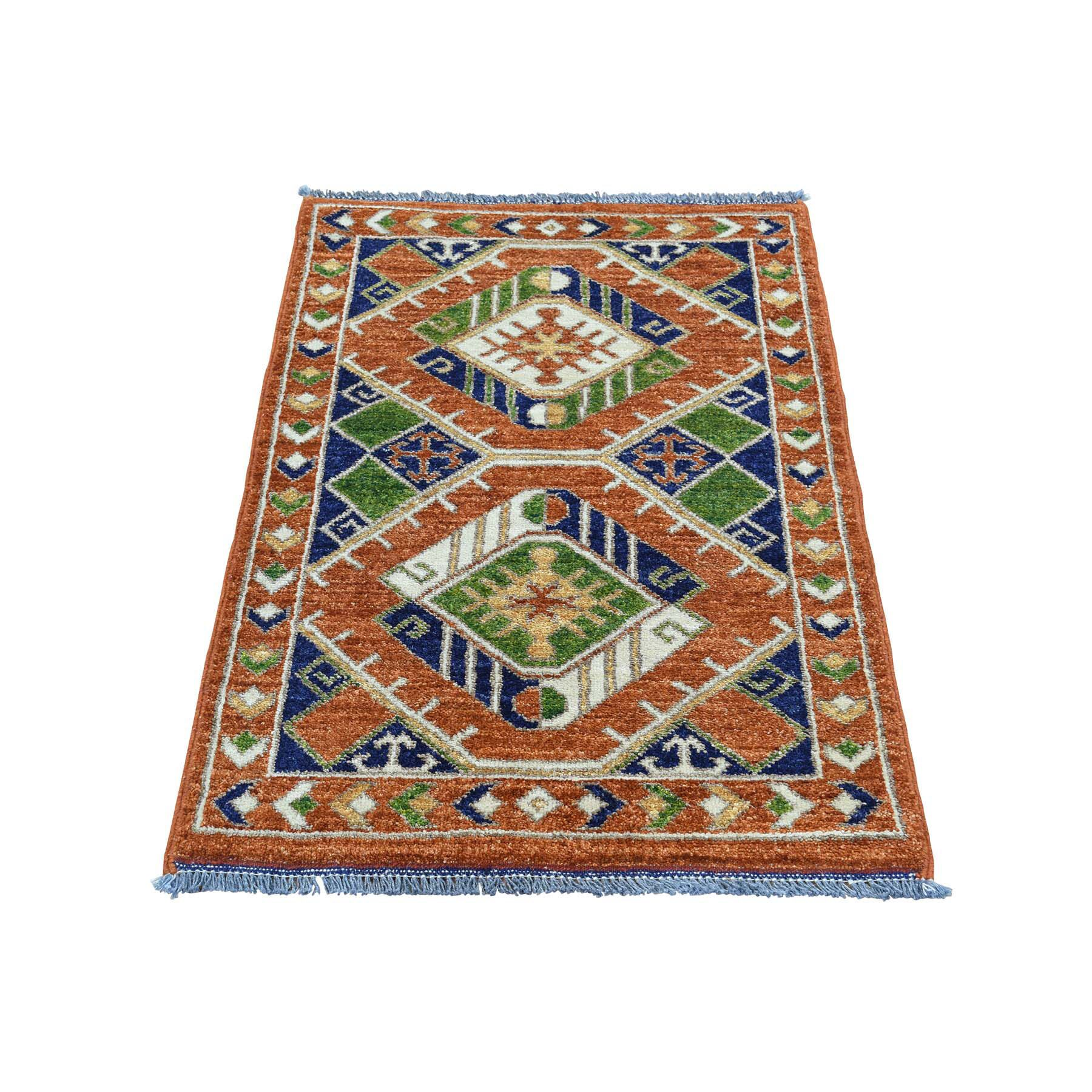 Afghan Ersari Hand-Knotted Burnt Orange Area Rug