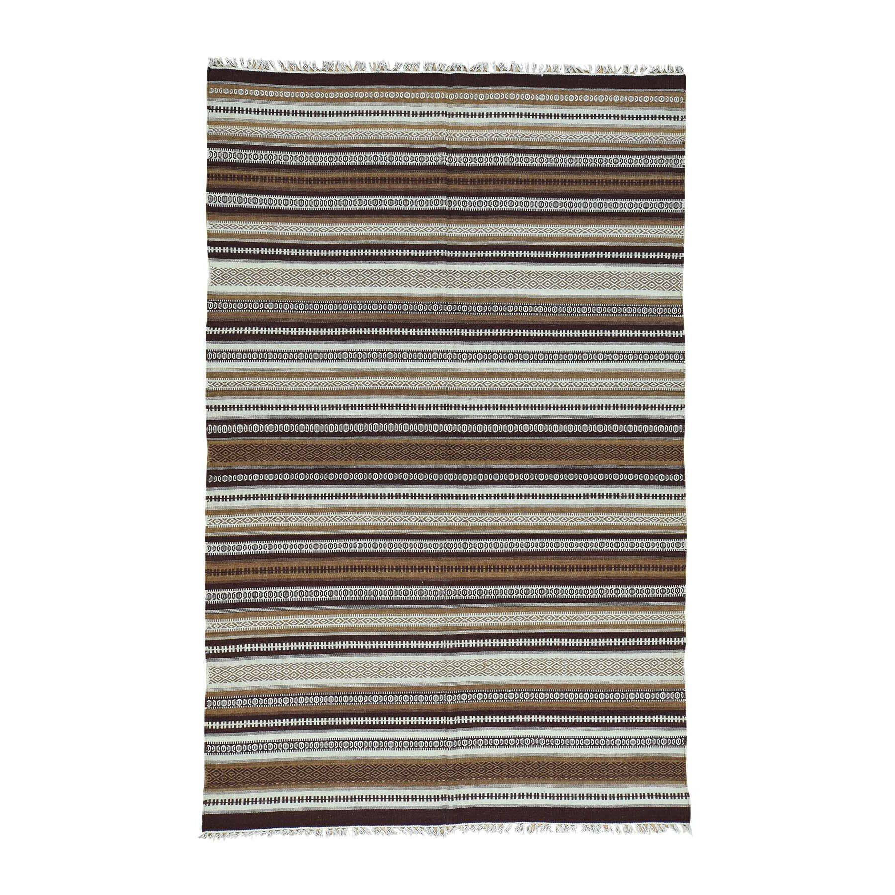 Durie Kilim Striped Hand-Knotted Ivory/Chocolate Brown Area Rug