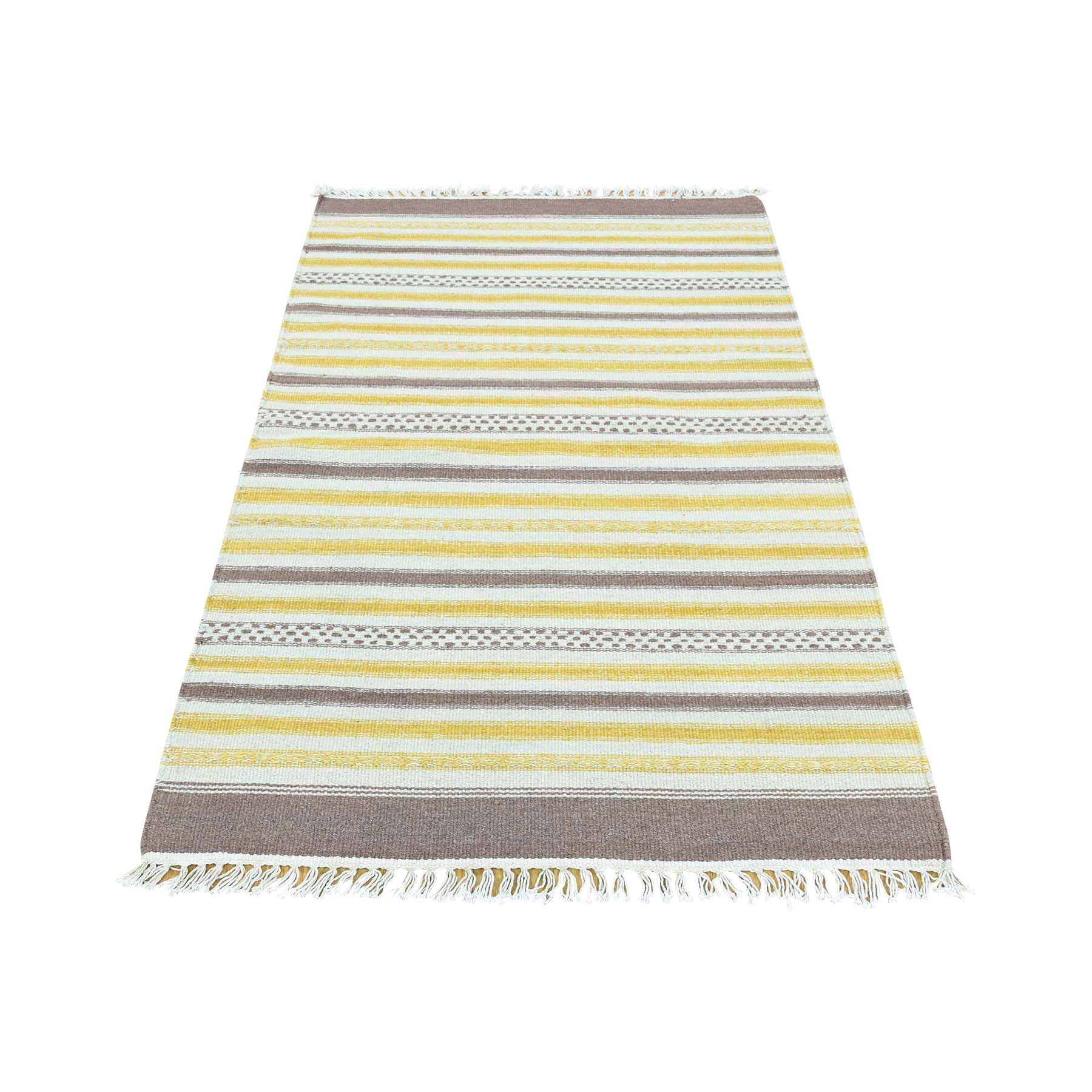 Durie Kilim Flat Weave Striped Hand-Knotted Yellow/Ivory/Coffee Brown Area Rug