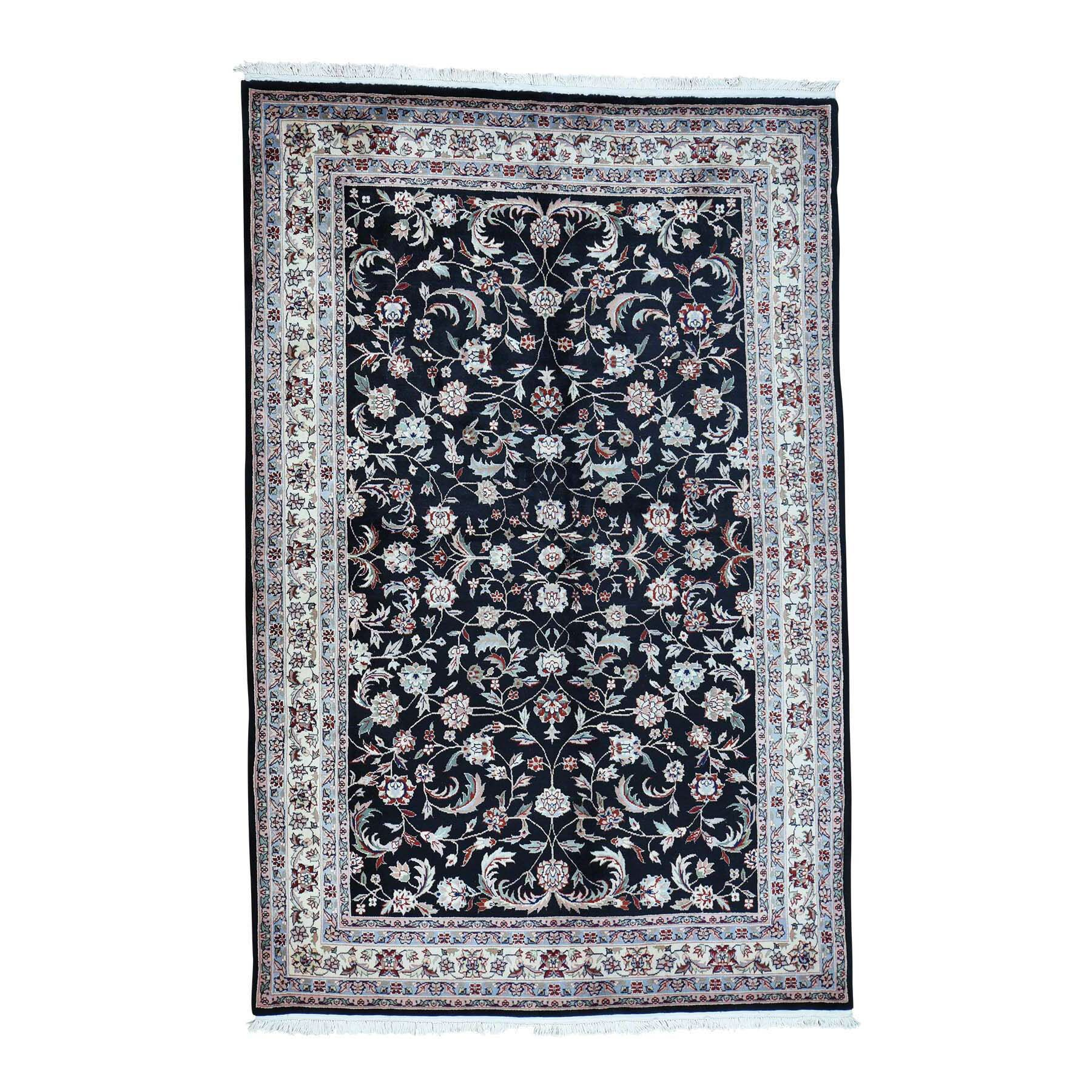One-of-a-Kind Ruelas Sino Dense Weave Hand-Knotted Black Area Rug