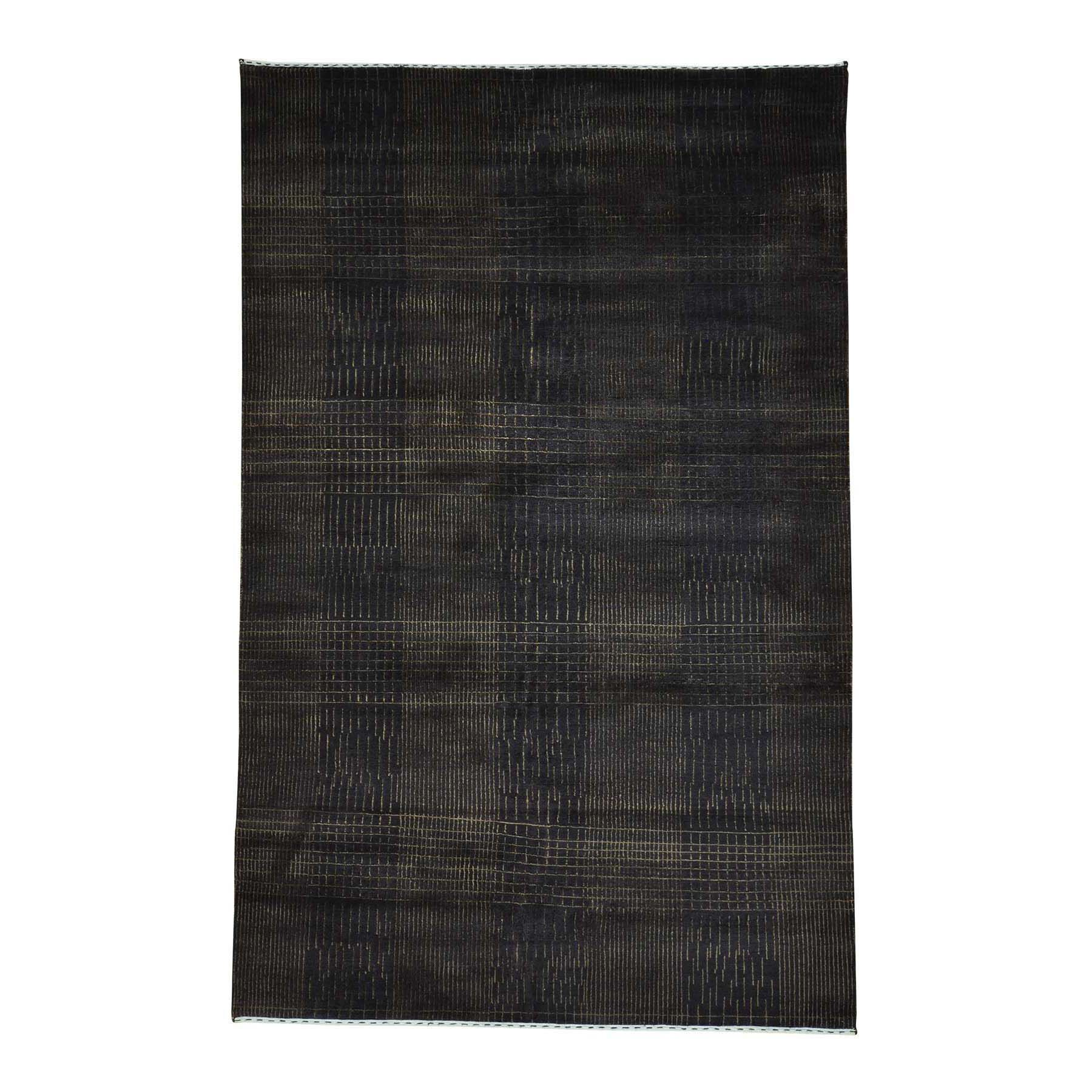 One-of-a-Kind Tone on Tone Nepali Hand-Knotted Chocolate Brown Area Rug