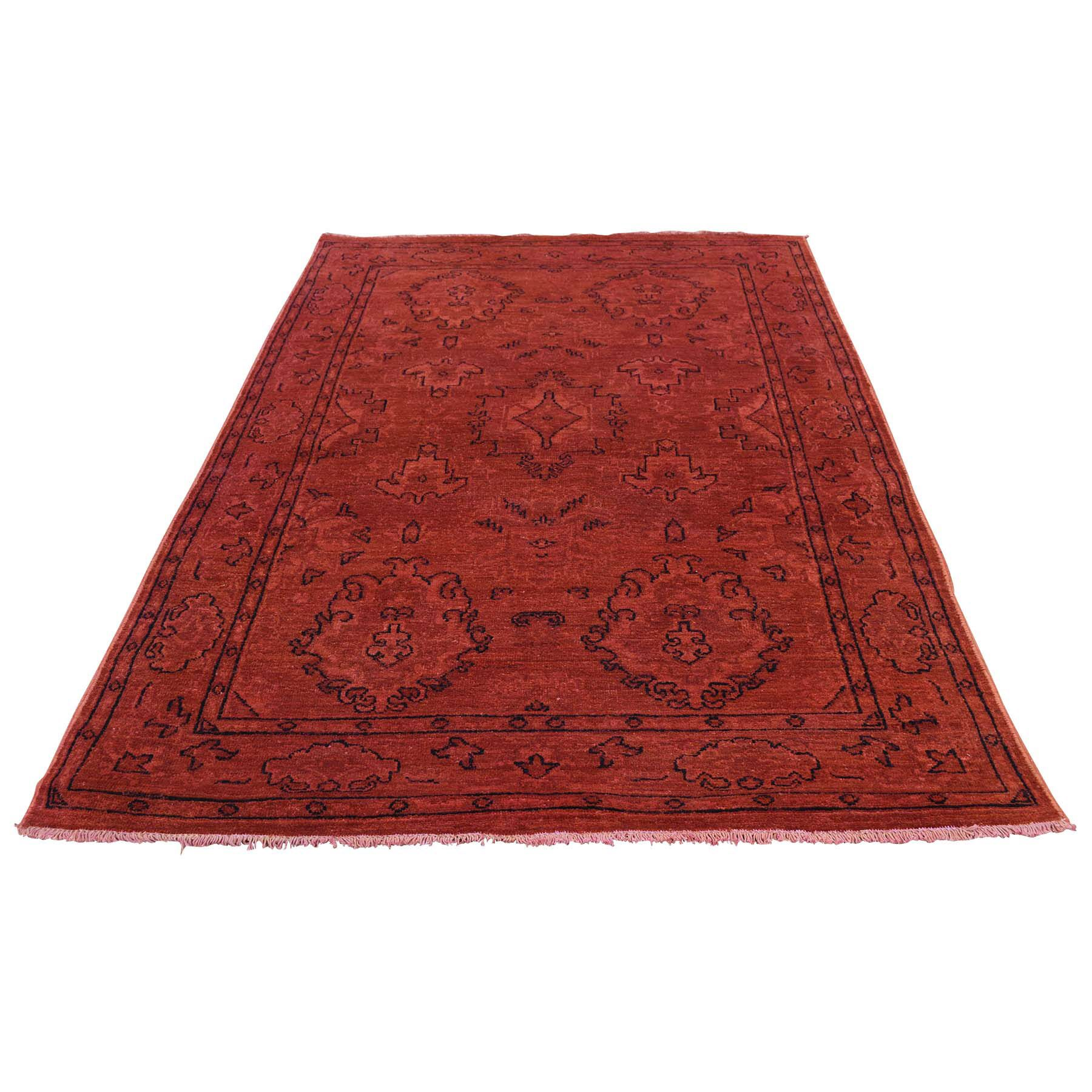 One-of-a-Kind Kensington Vintage Overdyed Hand-Knotted Red Area Rug