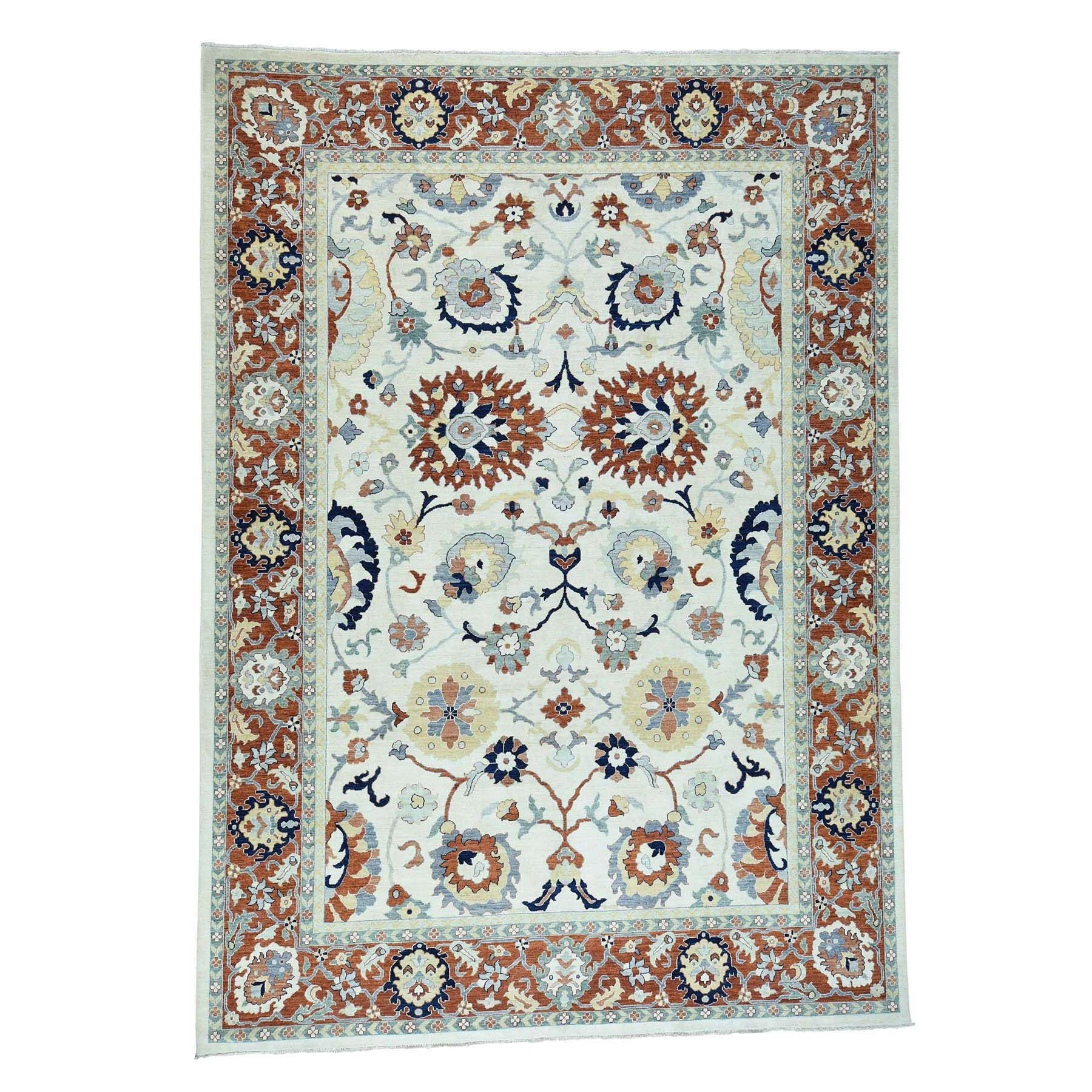 One-of-a-Kind Le Sirenuse Sultanabad Hand-Knotted Ivory Area Rug Rug Size: Rectangle 9'1