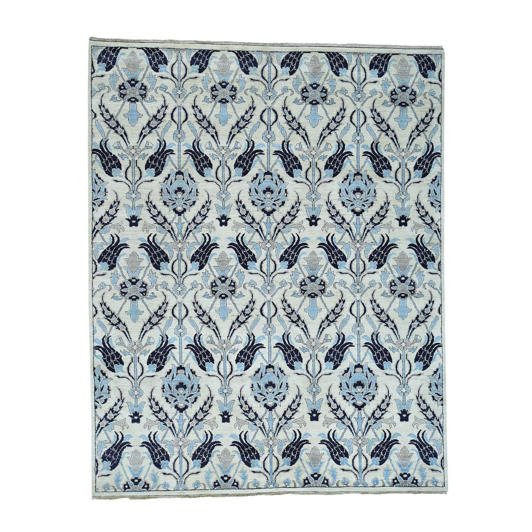 One-of-a-Kind Kells-Connor Hand-Knotted Navy Blue/Sky Blue Area Rug