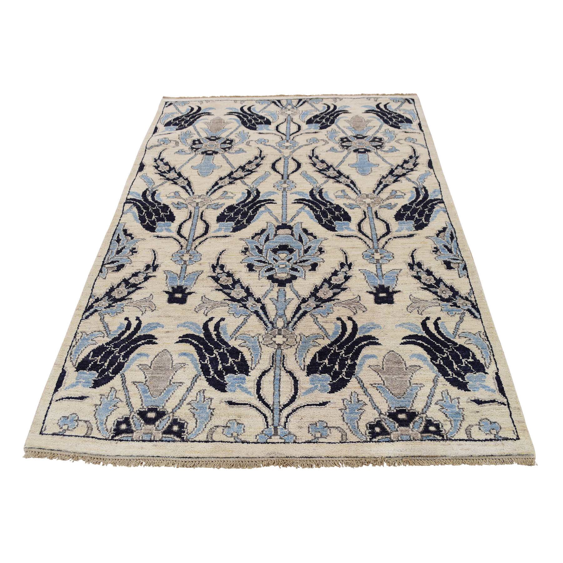 One-of-a-Kind Kells-Connor Overdyed Mazlaghan Vintage Hand-Knotted Ivory/Blue Area Rug