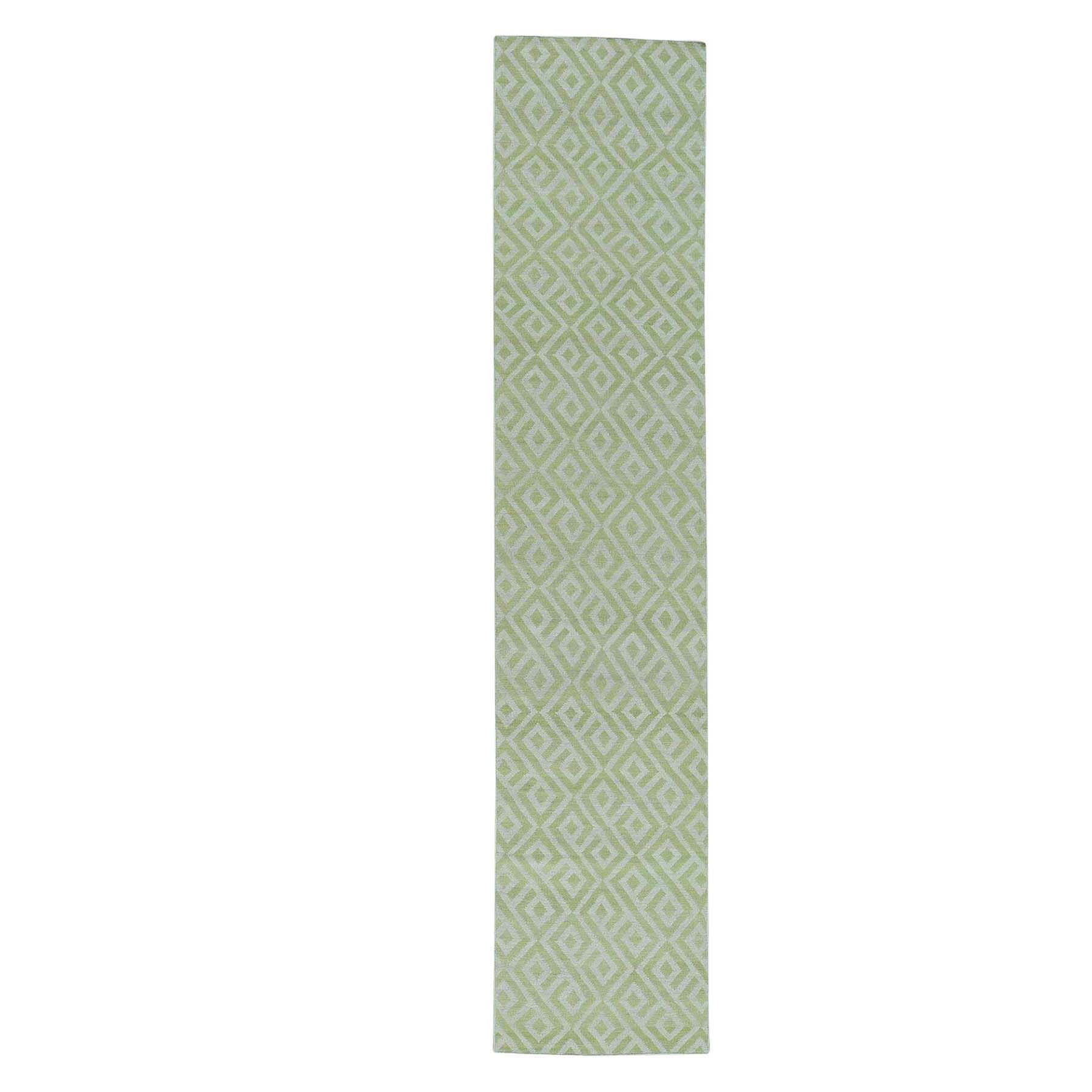 Flat Weave Reversible Durie Kilim Hand-Knotted Green Area Rug