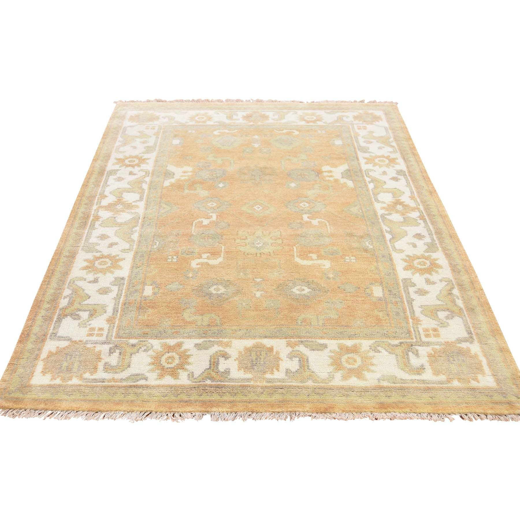 One-of-a-Kind Kating Overdyed Worn Hand-Knotted Topaz/Beige Area Rug