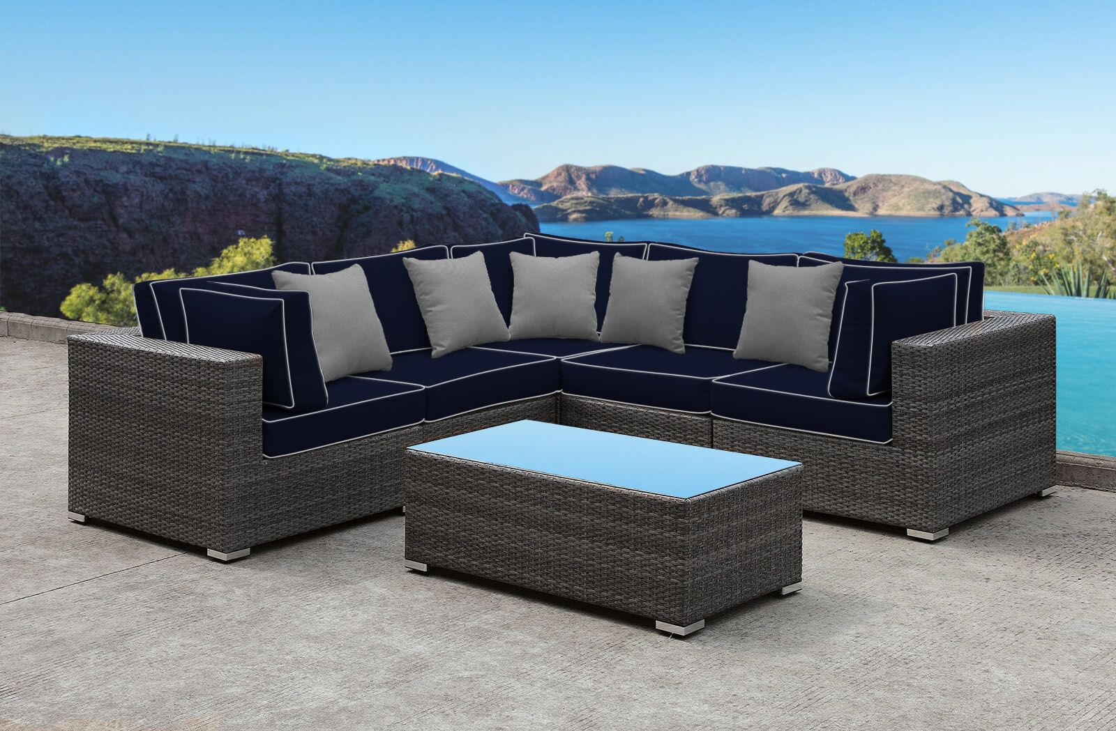 Yeager 5 Piece Rattan Sectional Set with Cushions Cushion Color: Navy/Gray