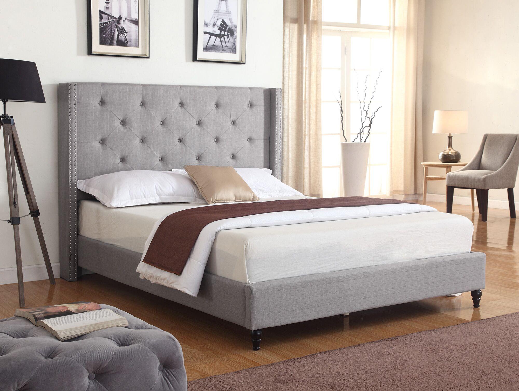 Priestley Upholstered Platform Bed Color: Gray, Size: King