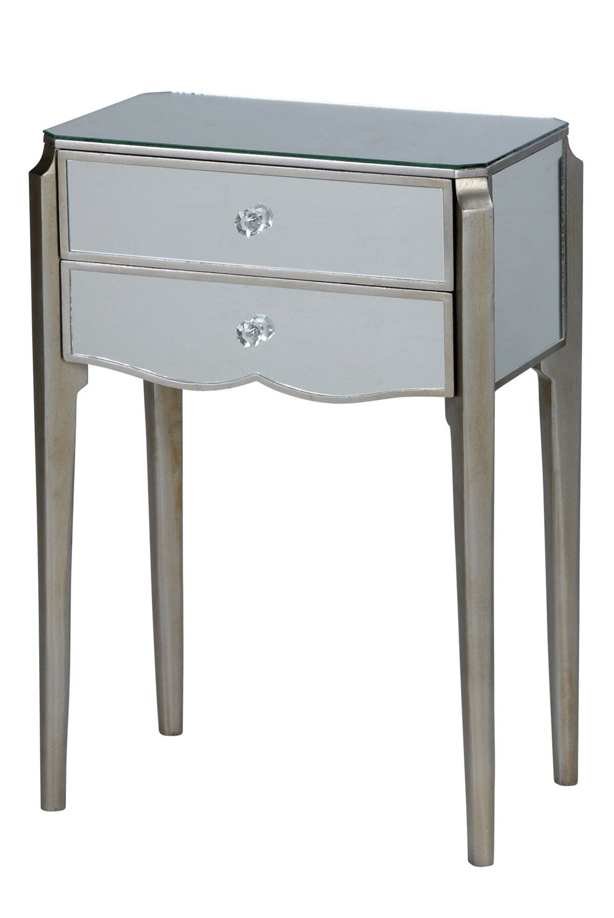 Monteleone 2 Drawer Mirrored Wood End Table with Storage