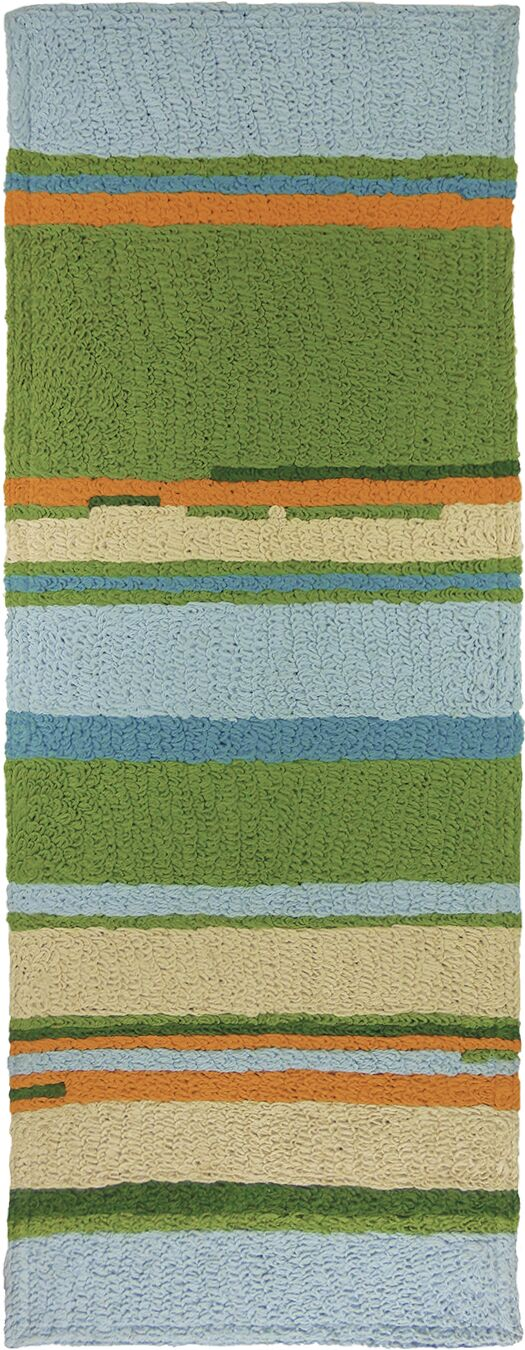 Carbone Patio Stripes Hand-Hooked Green/Blue Indoor/Outdoor Area Rug Rug Size: Runner 1'9