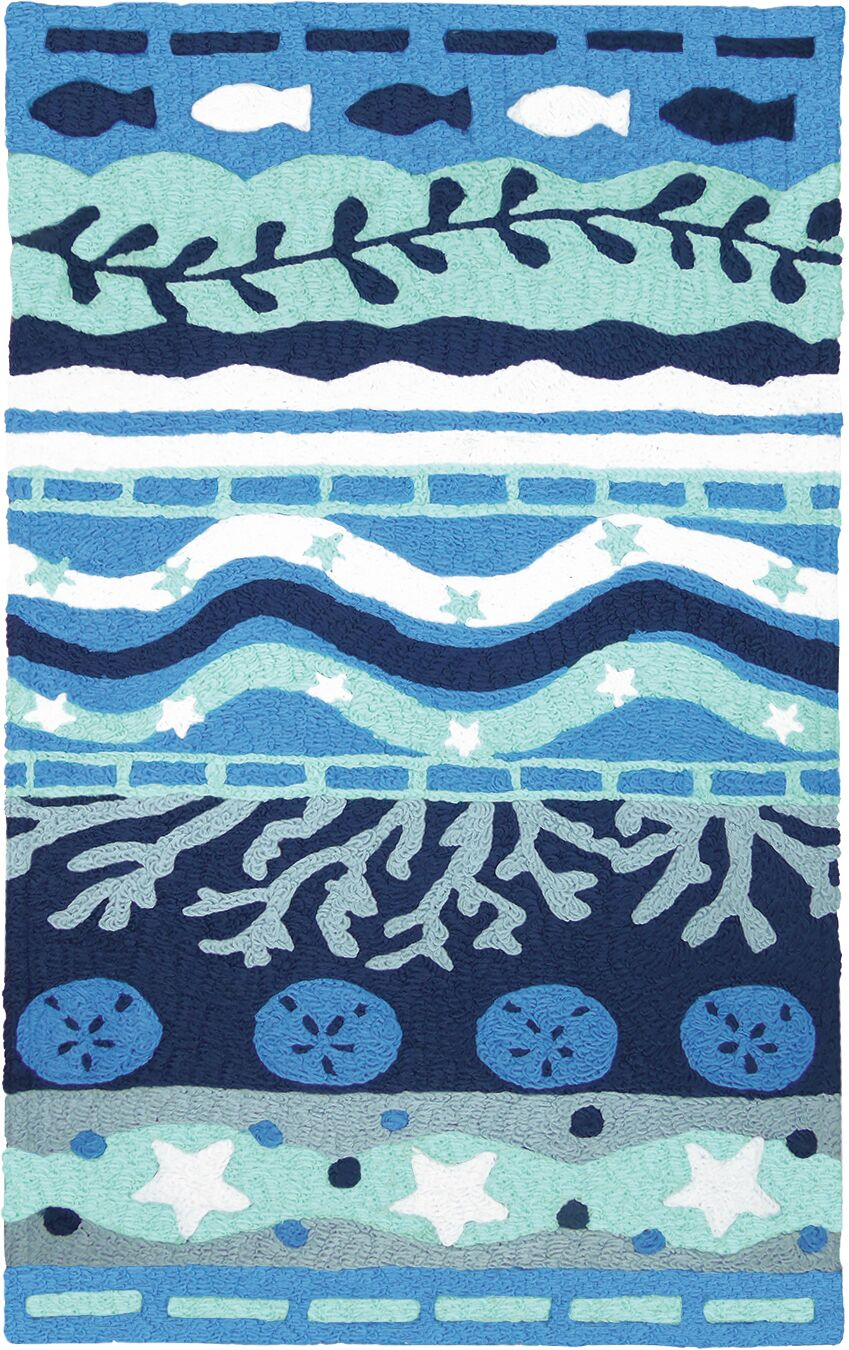 Bemelle Bay Hand-Hooked Blue Indoor/Outdoor Area Rug Rug Size: Rectangle 4'10