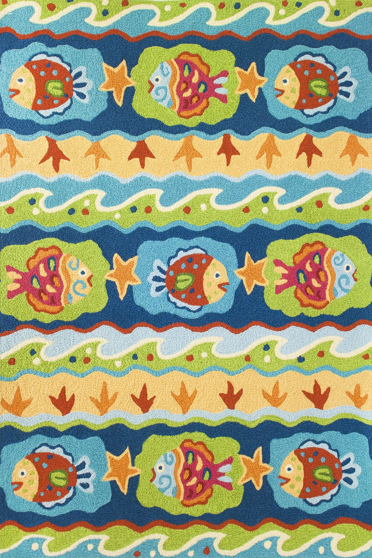 Calantha Fun Fish Hand-Hooked Blue/Green Indoor/Outdoor Area Rug Rug Size: Rectangle 4'10