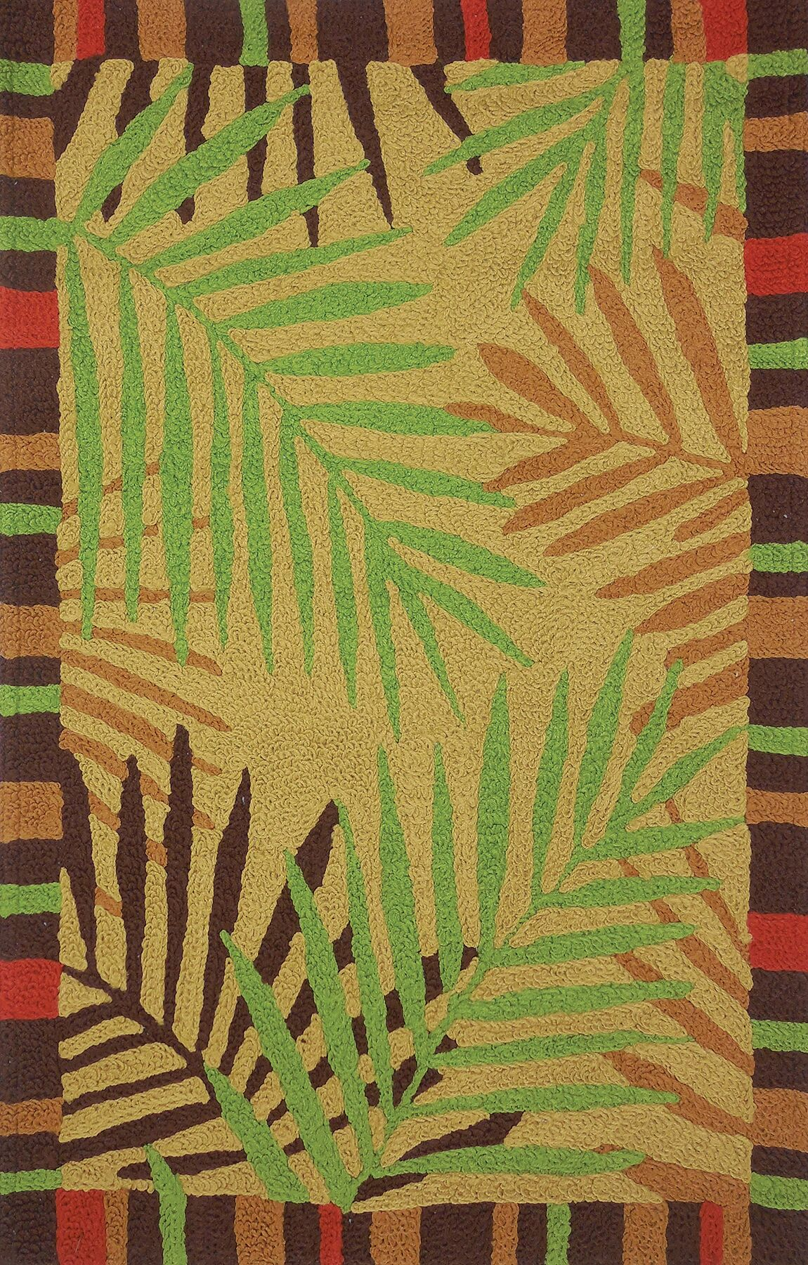 Ruthwell Tropical Leaves Hand-Hooked Brown Indoor/Outdoor Area Rug Rug Size: Rectangle 4'10