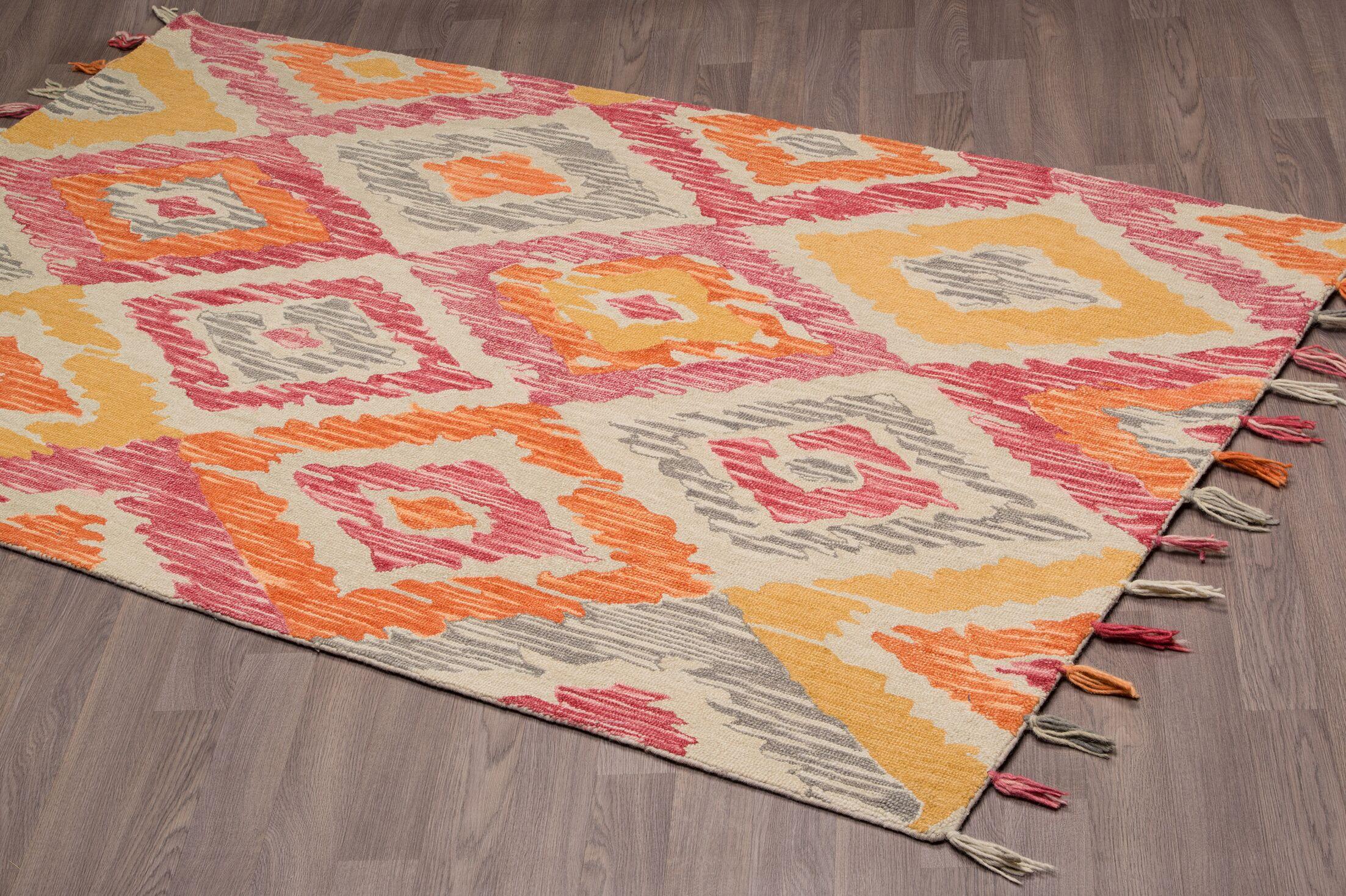 Rambert Hand-Woven Gold Wool Area Rug Rug Size: Rectangle 8' x 10'