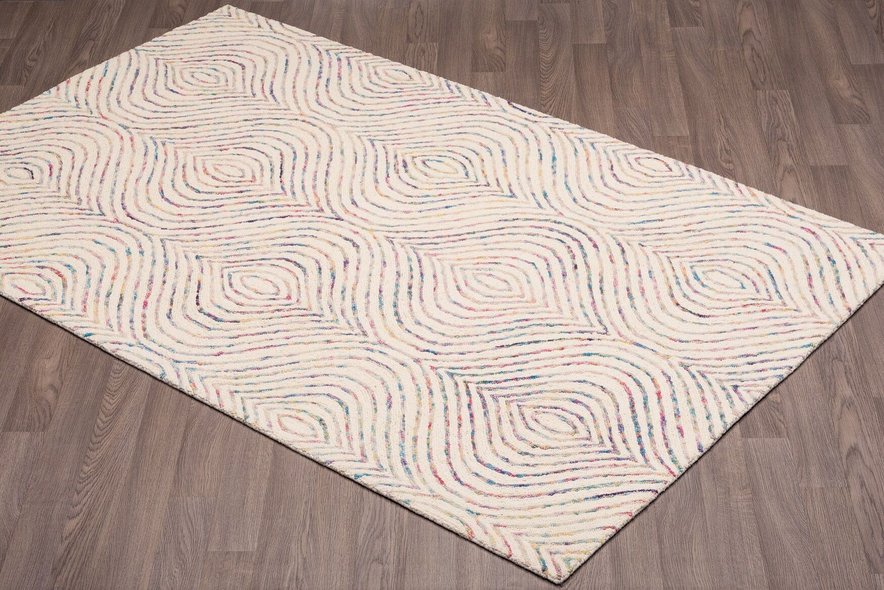 Quiles Hand-Woven Ivory Wool Area Rug Rug Size: Rectangle 5' x 8'
