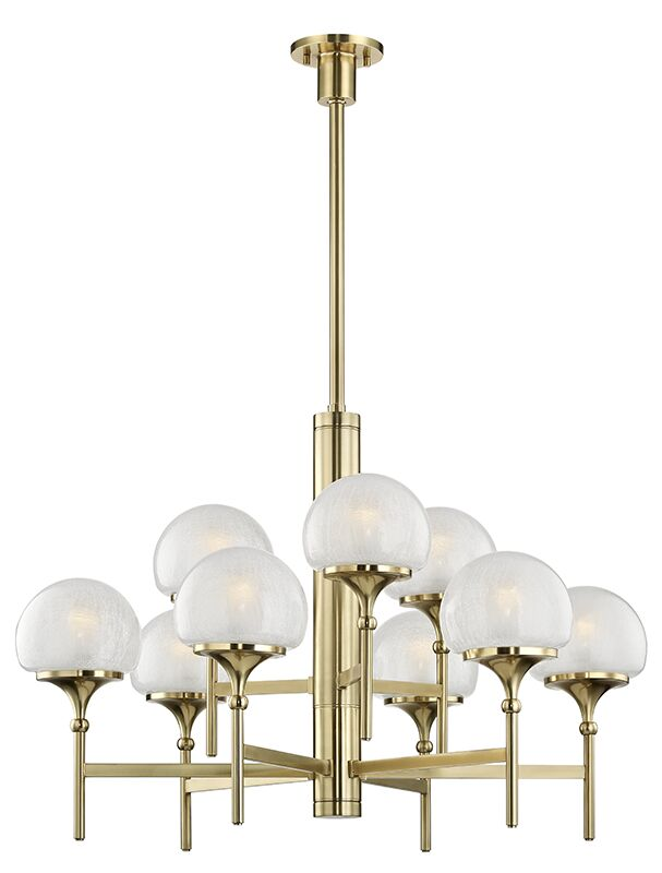 Leib 9-Light Shaded Chandelier Finish: Aged Brass