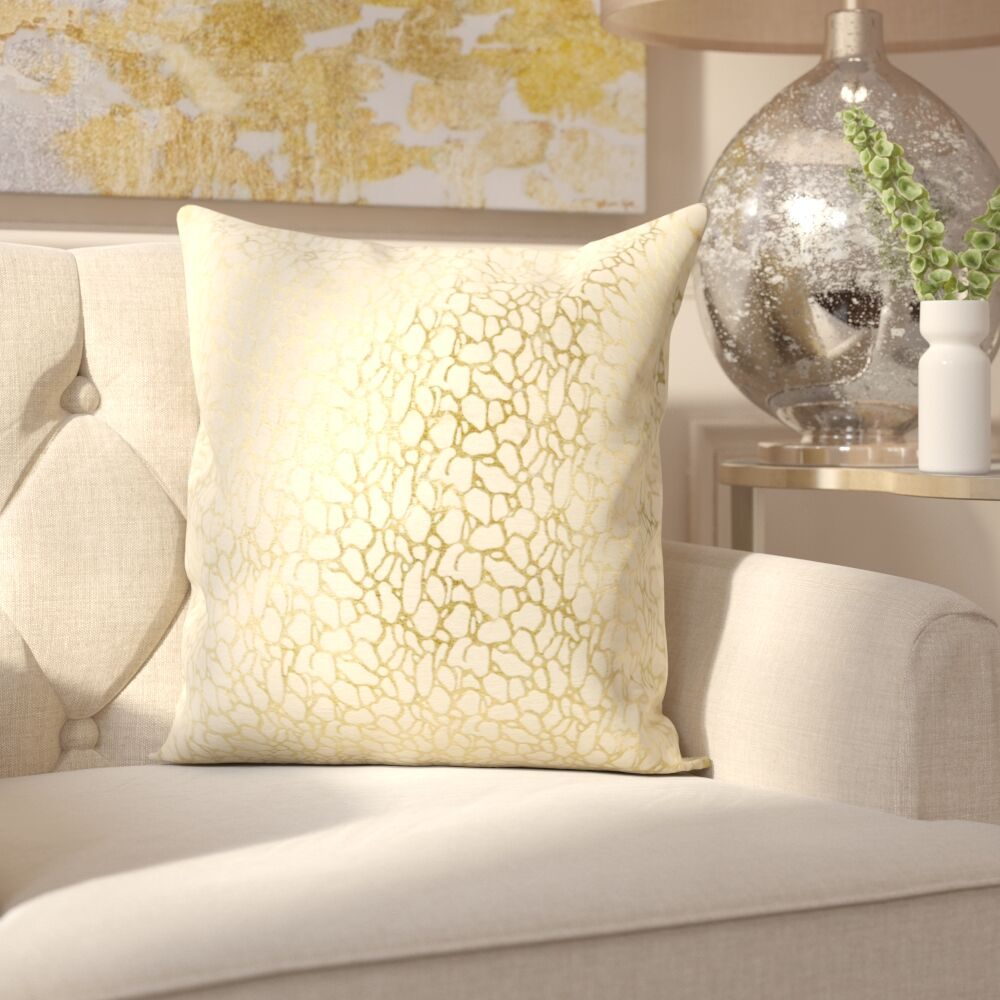 Lach Leather Throw Pillow Color: White/Gold