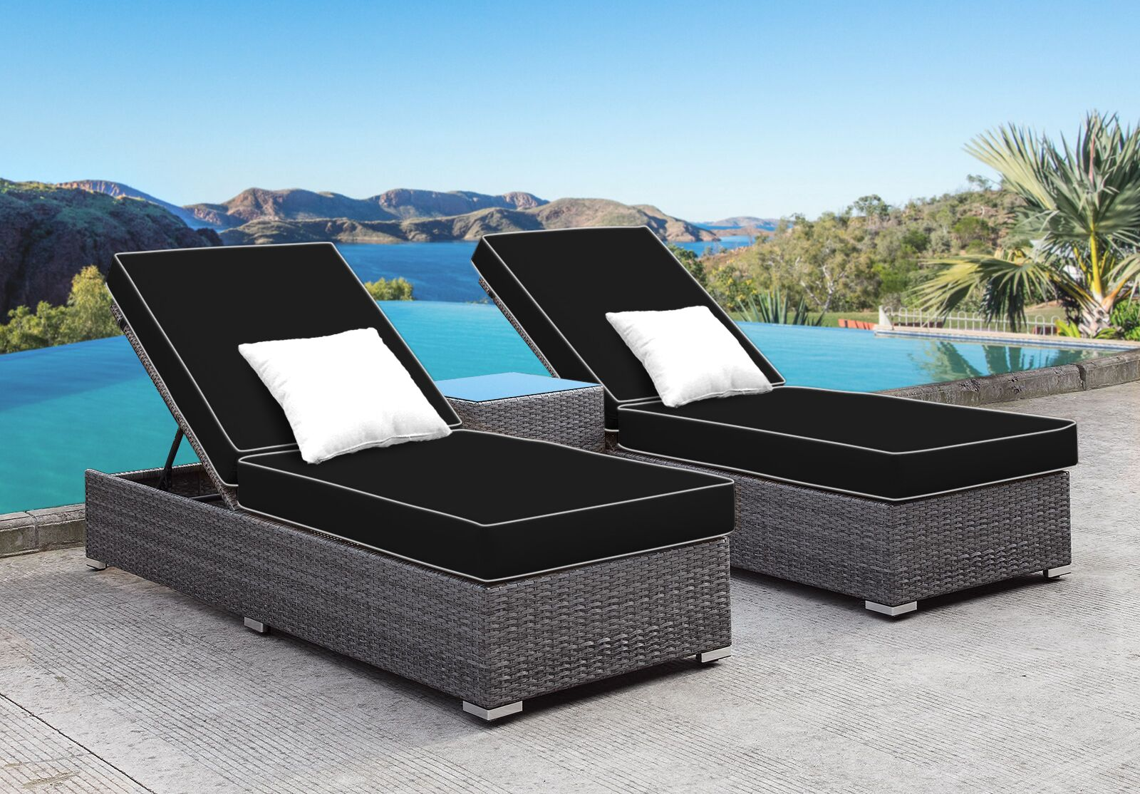 Zavis 3 Piece Reclining Chaise Lounge Set Cushion Color: Black/White