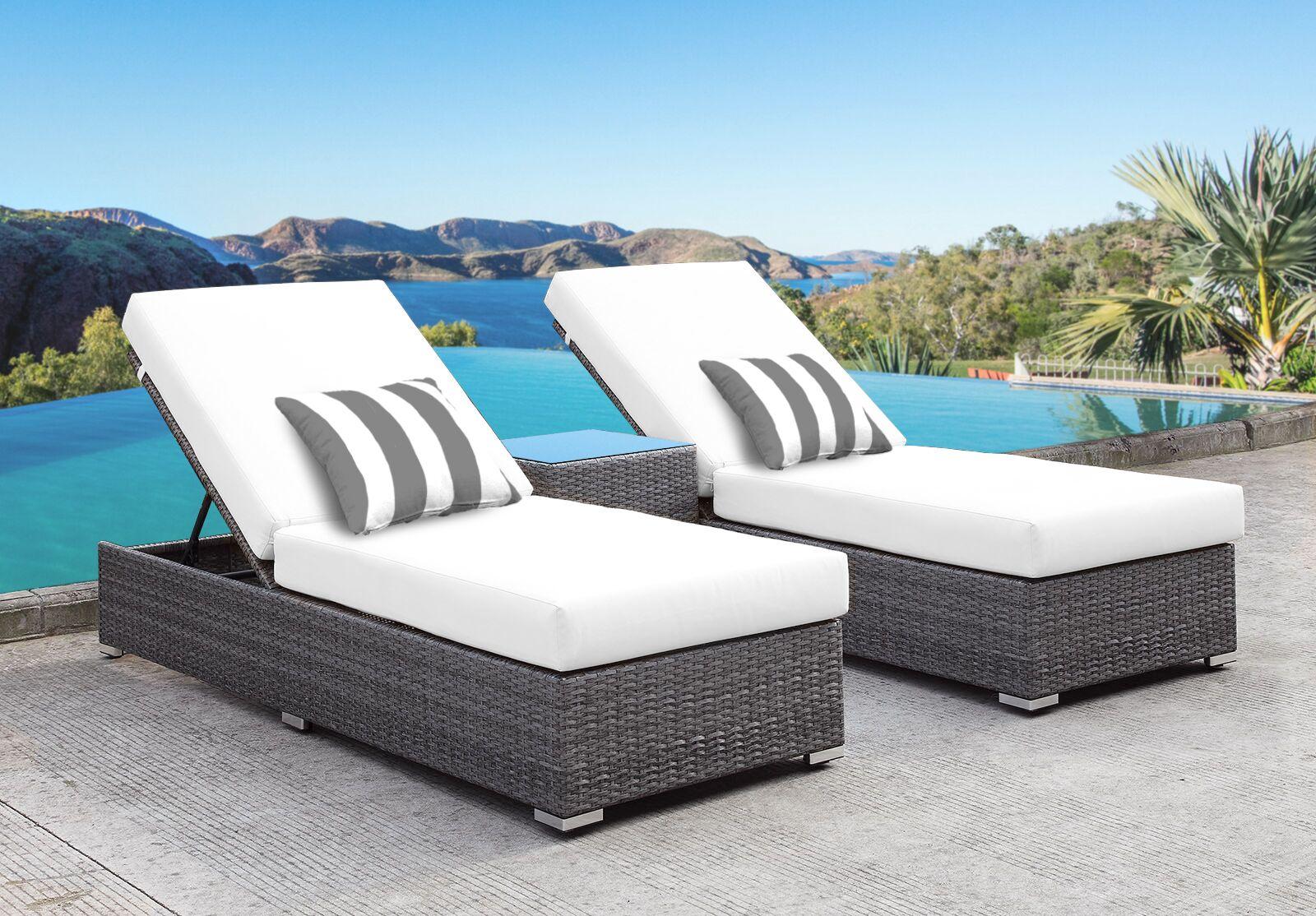 Zavis 3 Piece Reclining Chaise Lounge Set Cushion Color: White/Gray