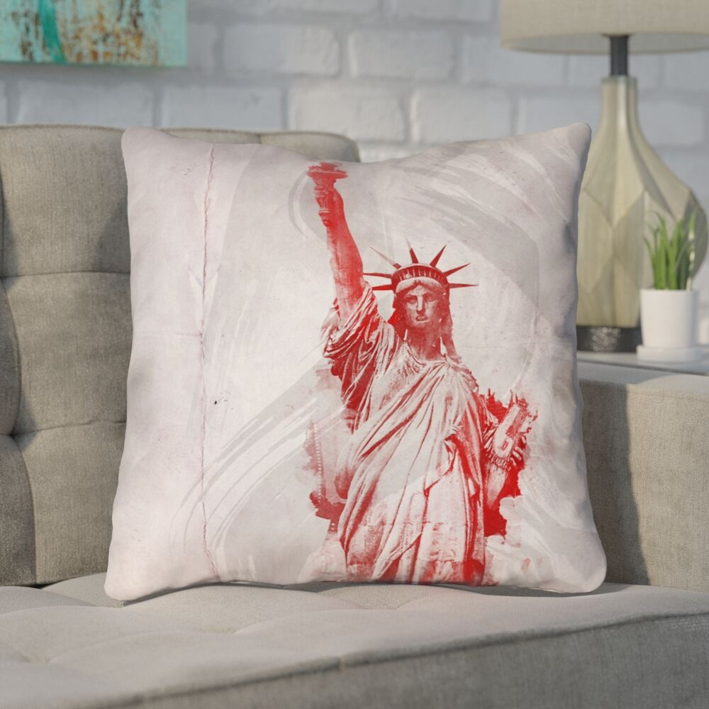 Houck Watercolor Statue of Liberty Printed Zipper Square Throw Pillow Size: 26