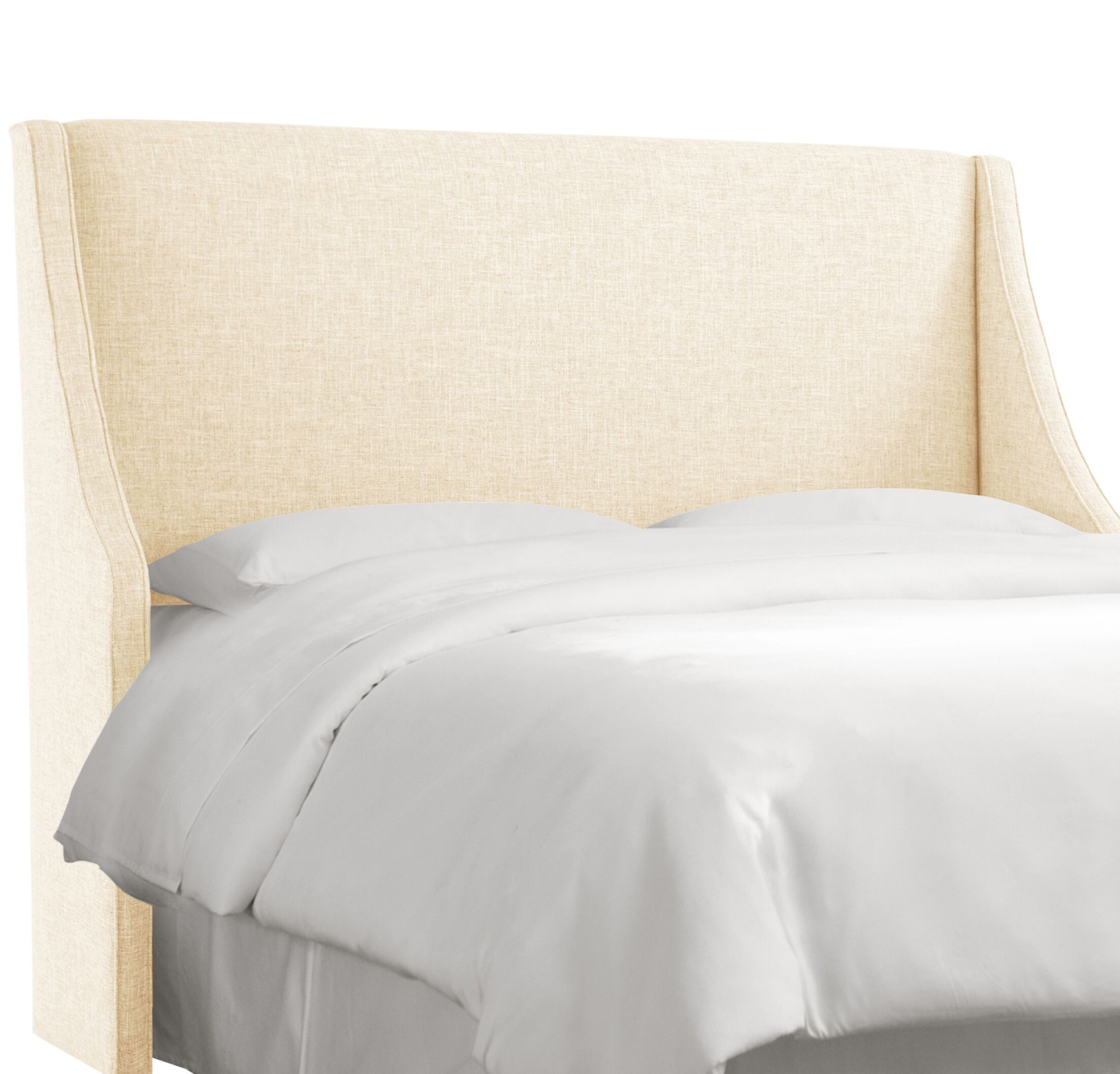 Crumrine Swoop Arm Upholstered Wingback Headboard Size: Full, Color: Zuma White