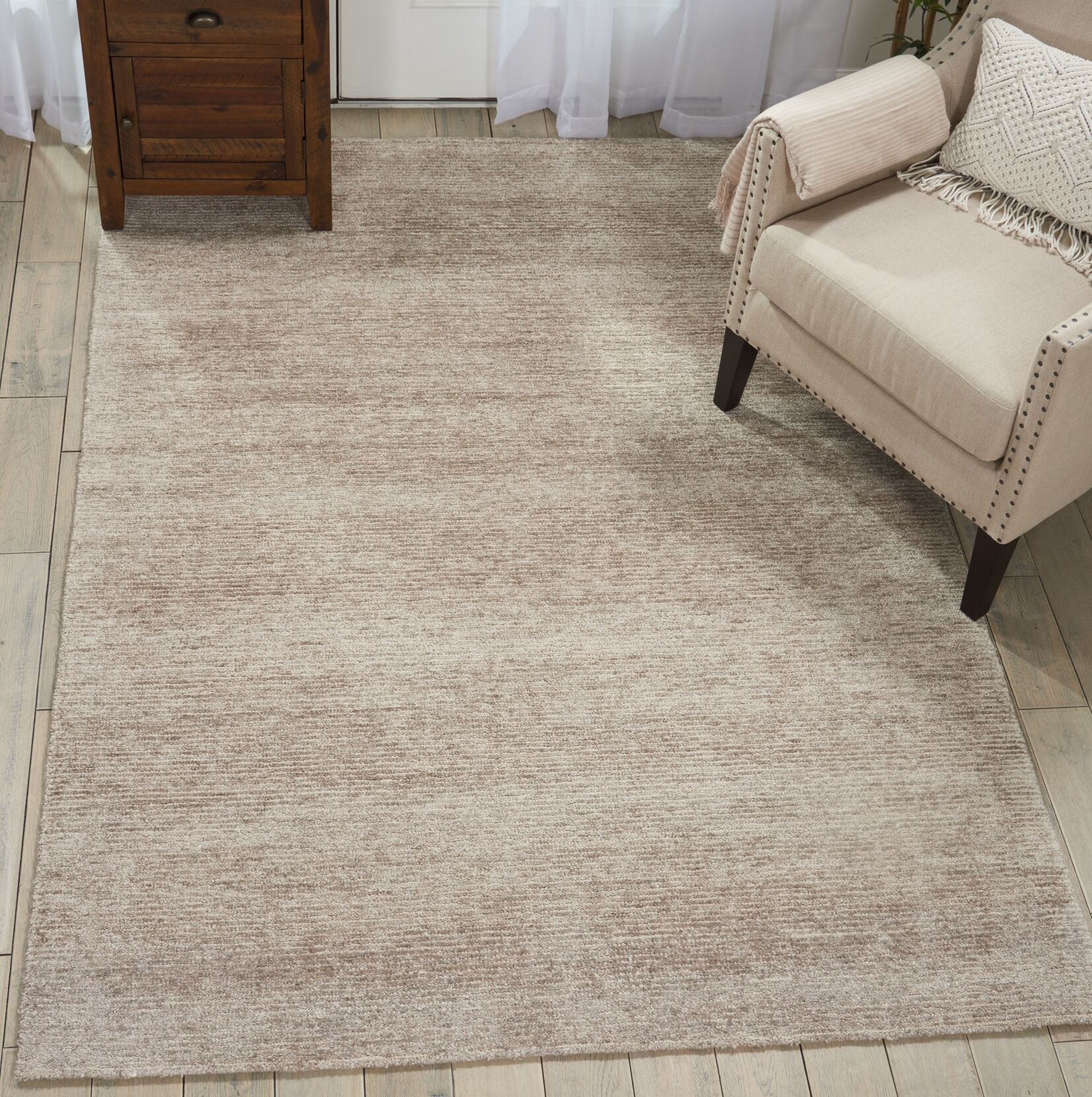 Romans Solid Hand-Tufted Oatmeal Beige Area Rug Rug Size: Rectangle 8' x 10'6