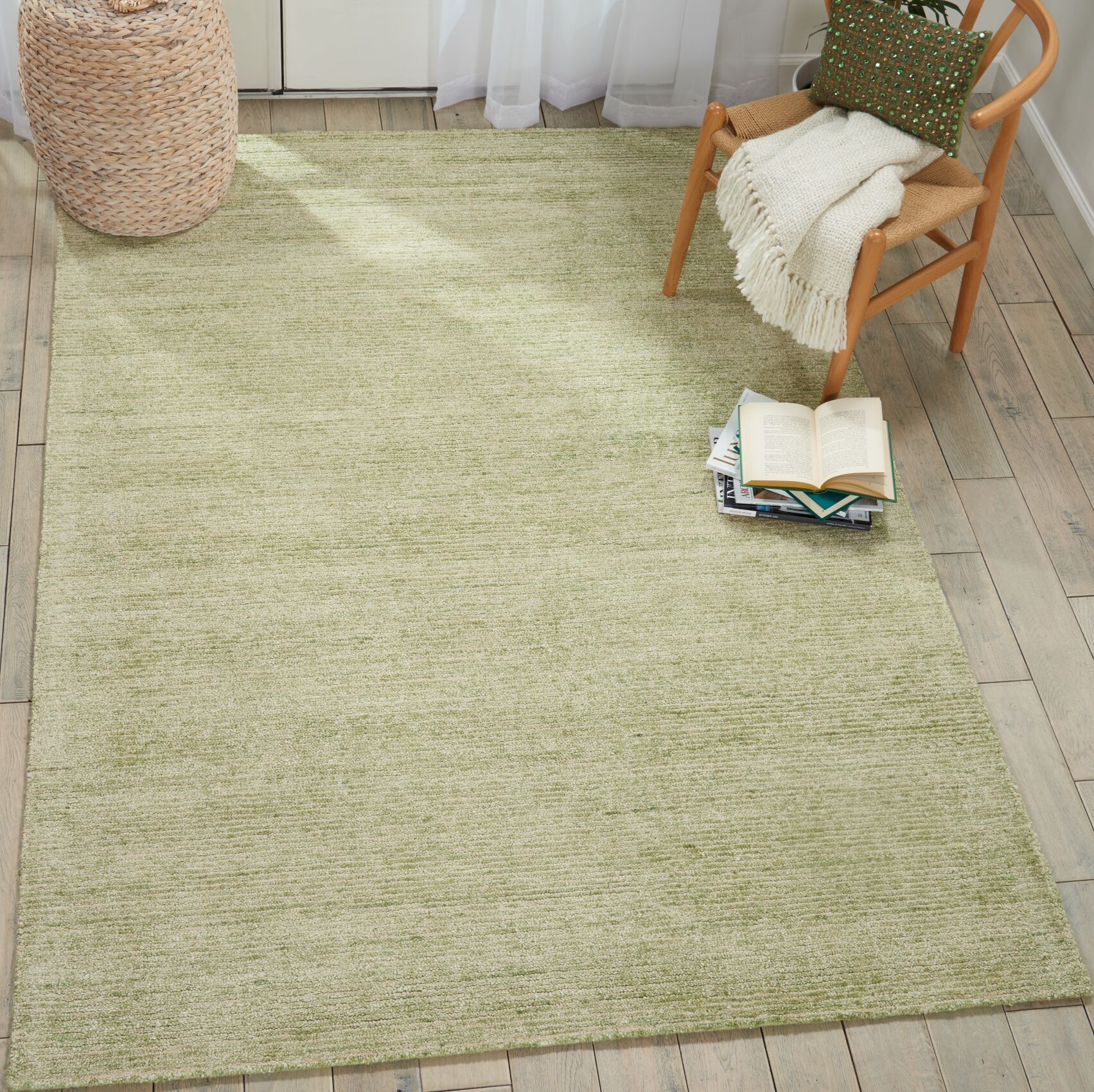 Romans Solid Hand-Tufted Citron Green Area Rug Rug Size: Rectangle 5'3