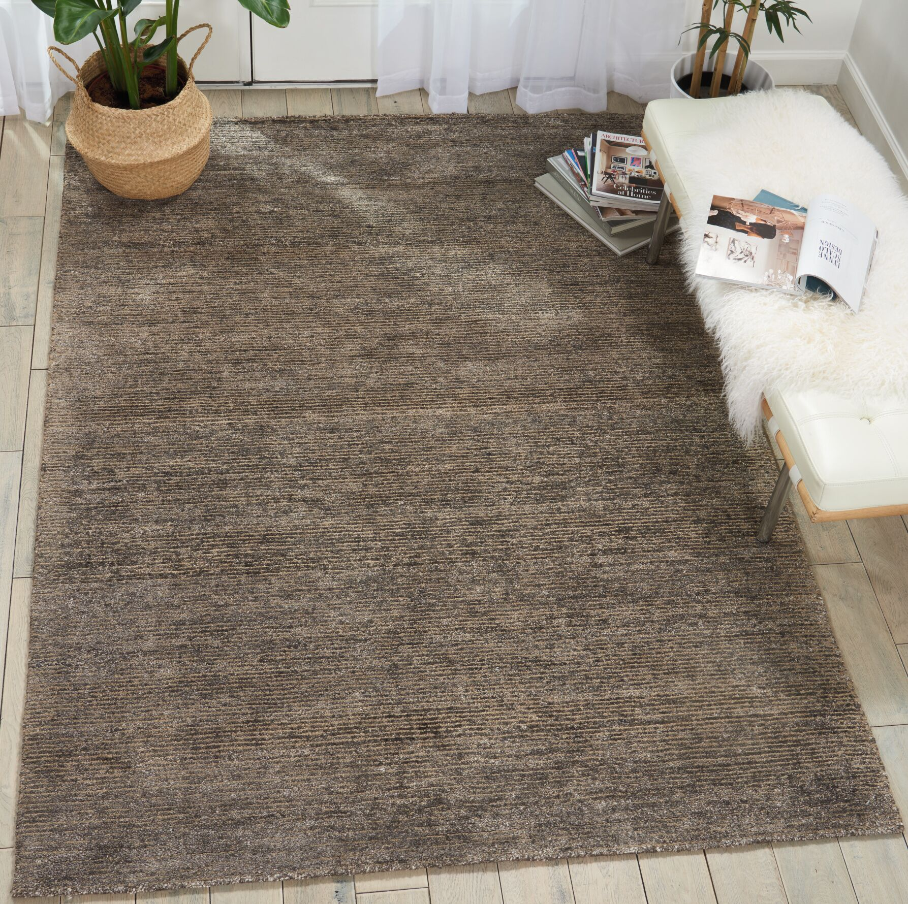 Romans Solid Hand-Tufted Charcoal Area Rug Rug Size: Rectangle 9'6