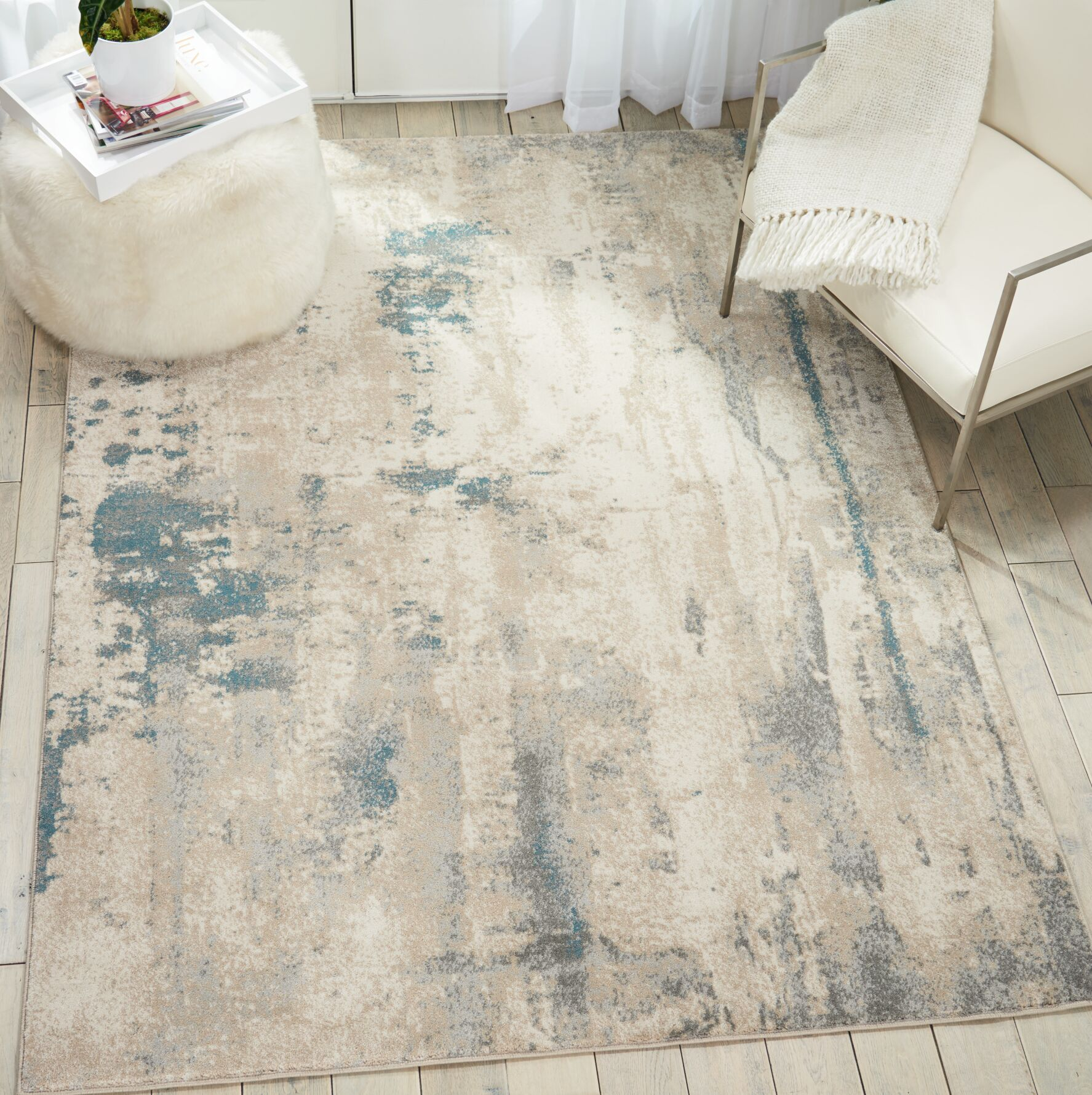 Heffron Ivory/Teal Area Rug Rug Size: Rectangle 9'3