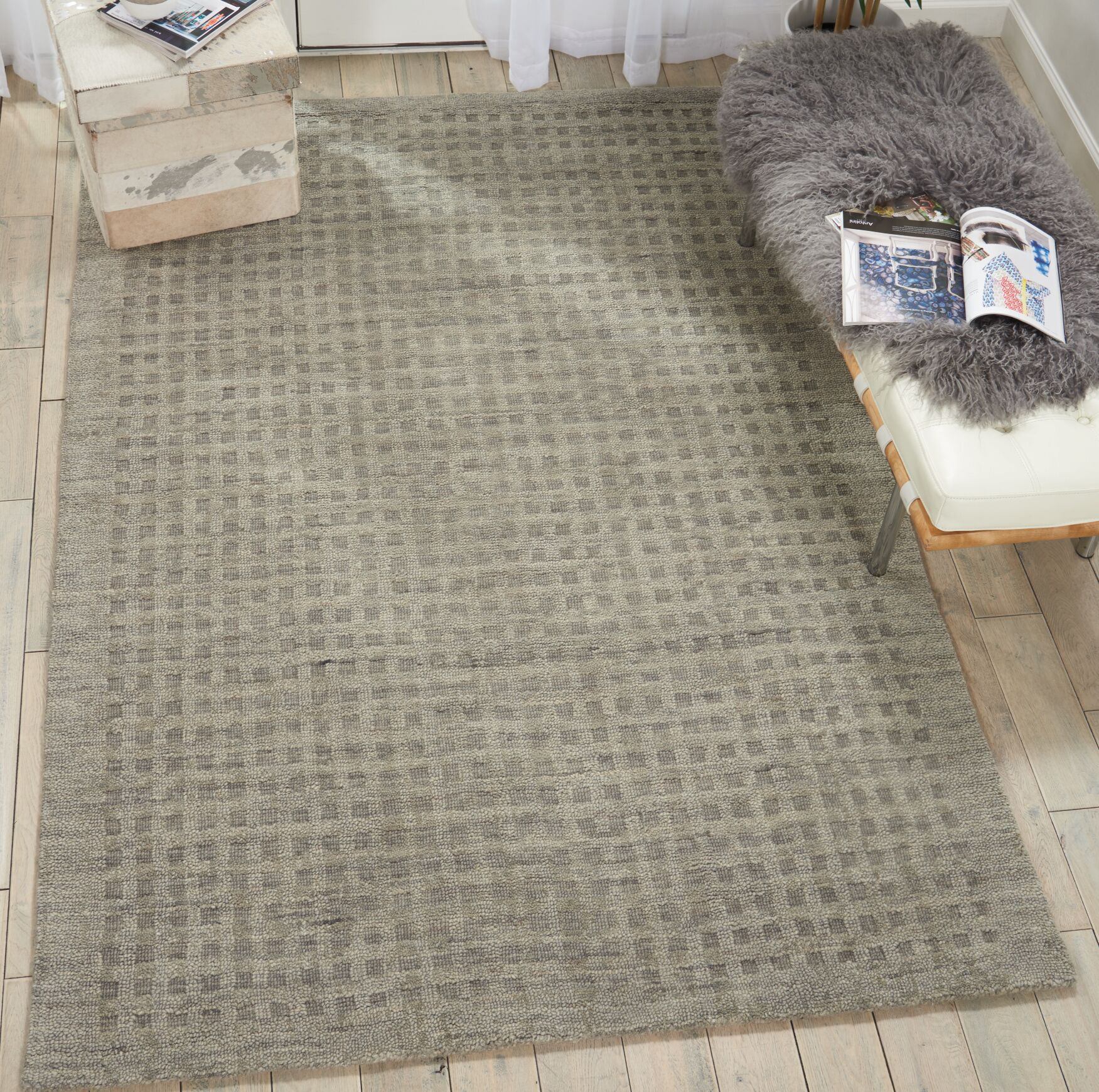 Dove Hand-Woven Wool Charcoal Gray Area Rug Rug Size: Rectangle 6'6