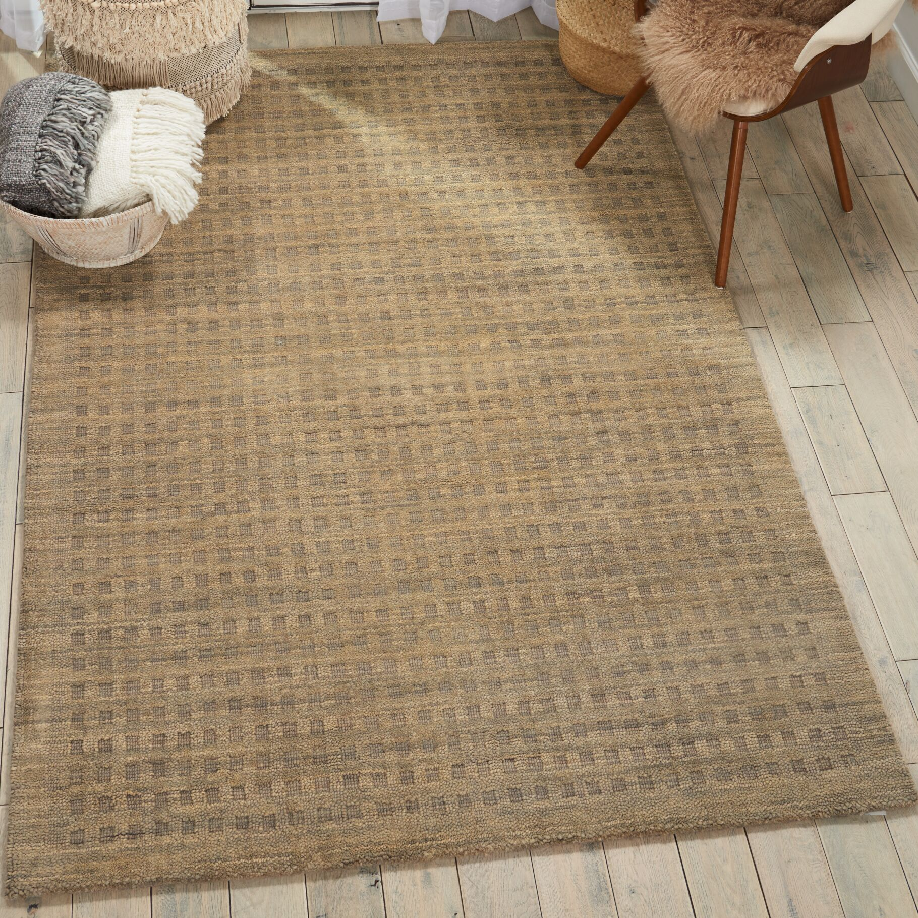Dove Hand-Tufted Wool Latte Area Rug Rug Size: Rectangle 6'6