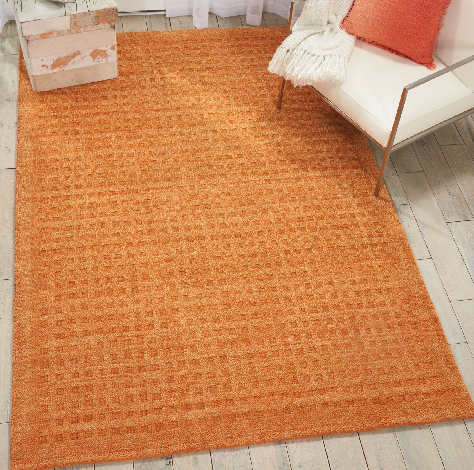 Dove Solid Hand-Tufted Wool Sunset Orange Area Rug Rug Size: Rectangle 3'9