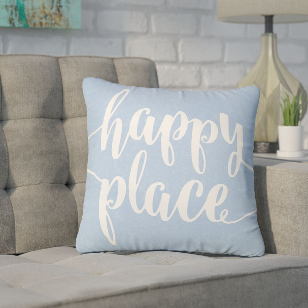 Bolte Happy Place 100% Cotton Throw Pillow Size: 18