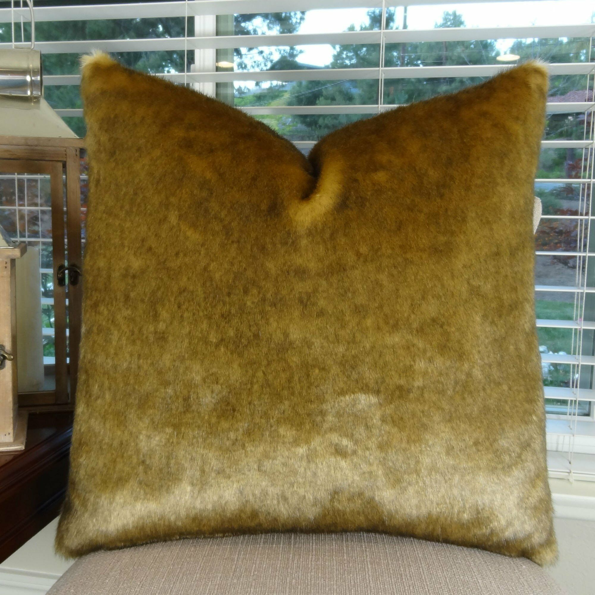 Waggoner Luxury Sable Mink Faux Fur Pillow Size: 12