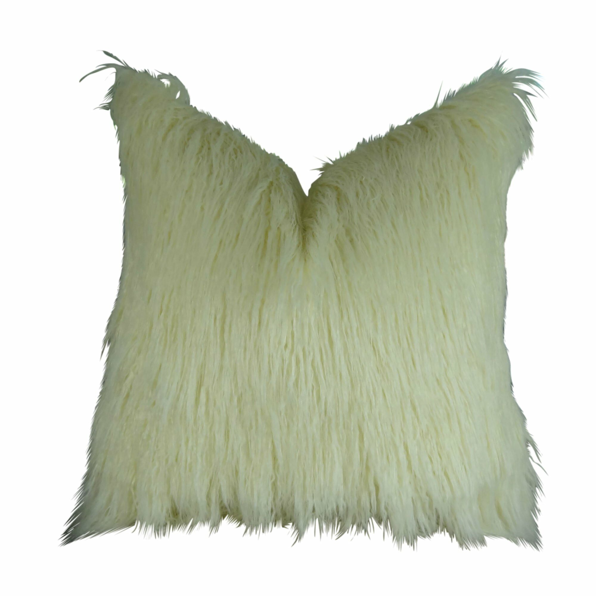 Jowett Curly Mongolian Faux Fur Pillow Fill Material: Cover Only - No Insert, Size: 20