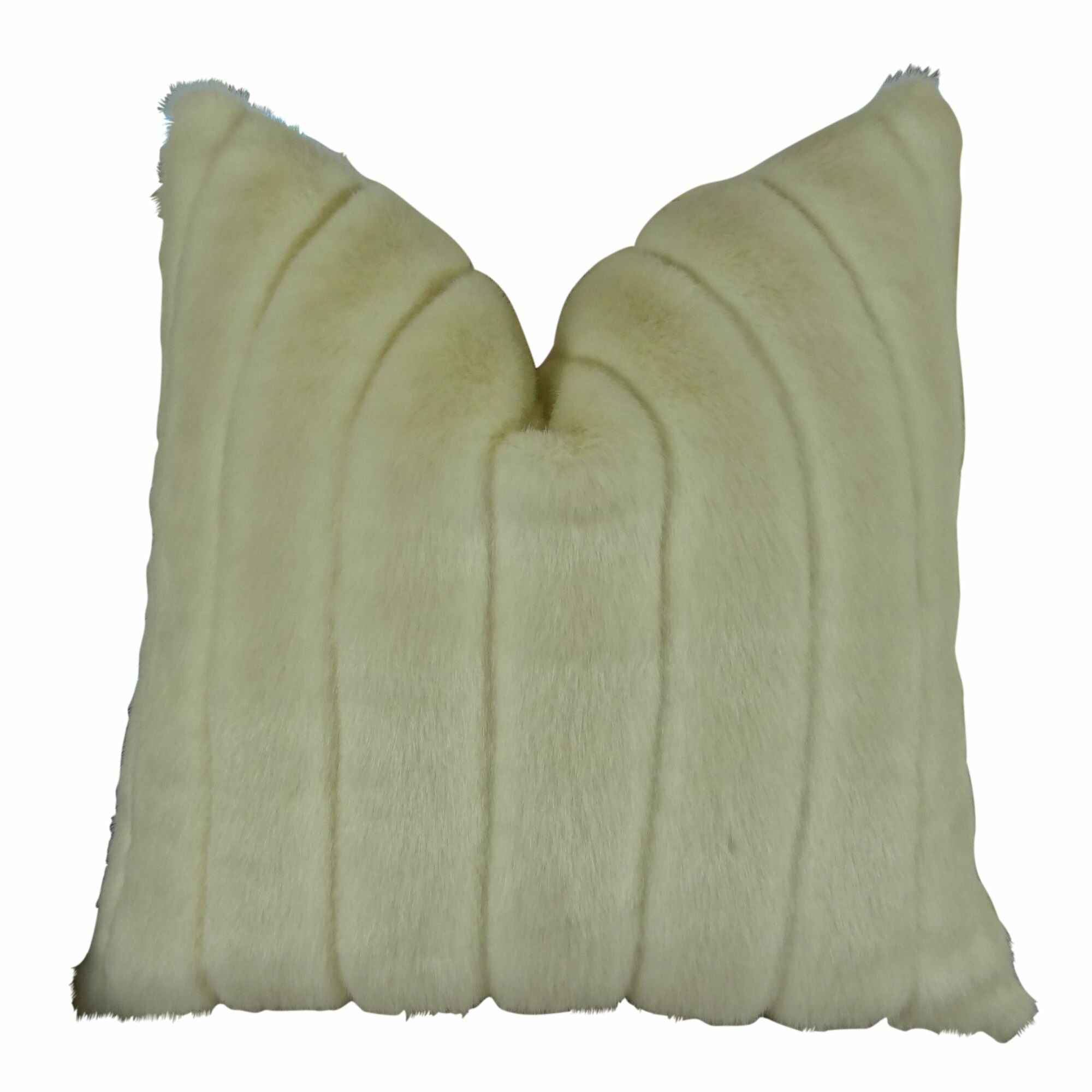 Montford Grooved Mink Faux Fur Pillow Fill Material: Cover Only - No Insert, Size: 18