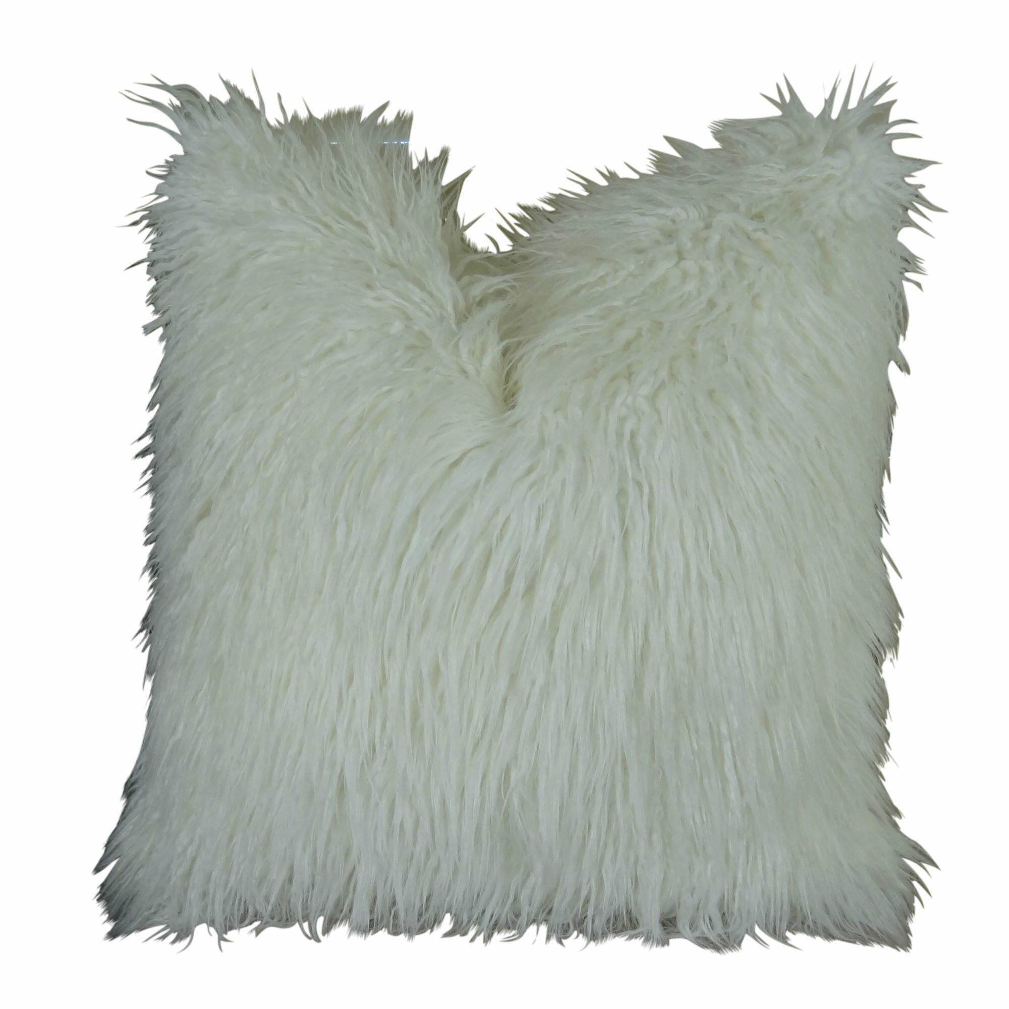 Jowett Curly Mongolian Faux Fur Pillow Size: 18