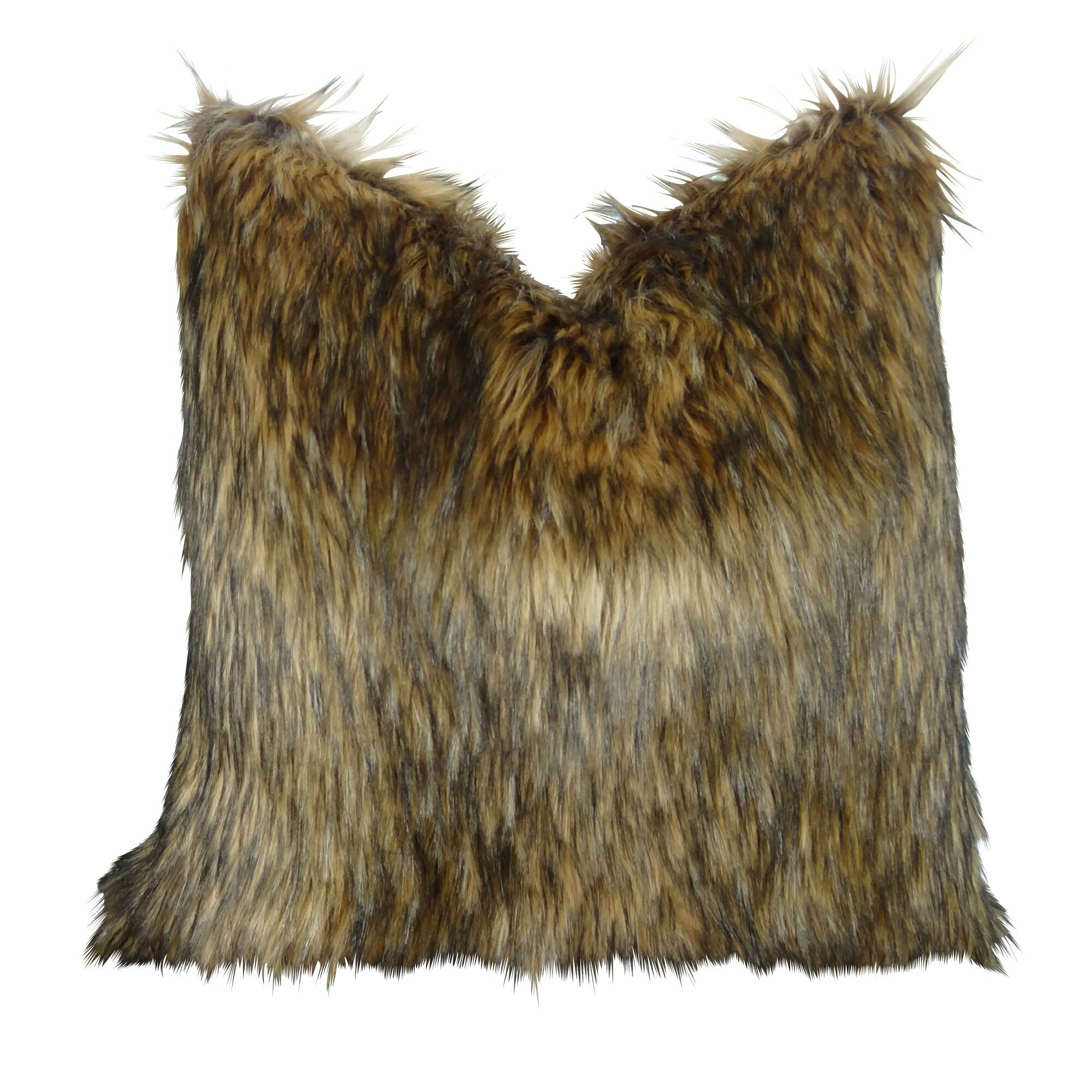 Wafford Wolf Luxury Faux Fur Pillow Size: 24