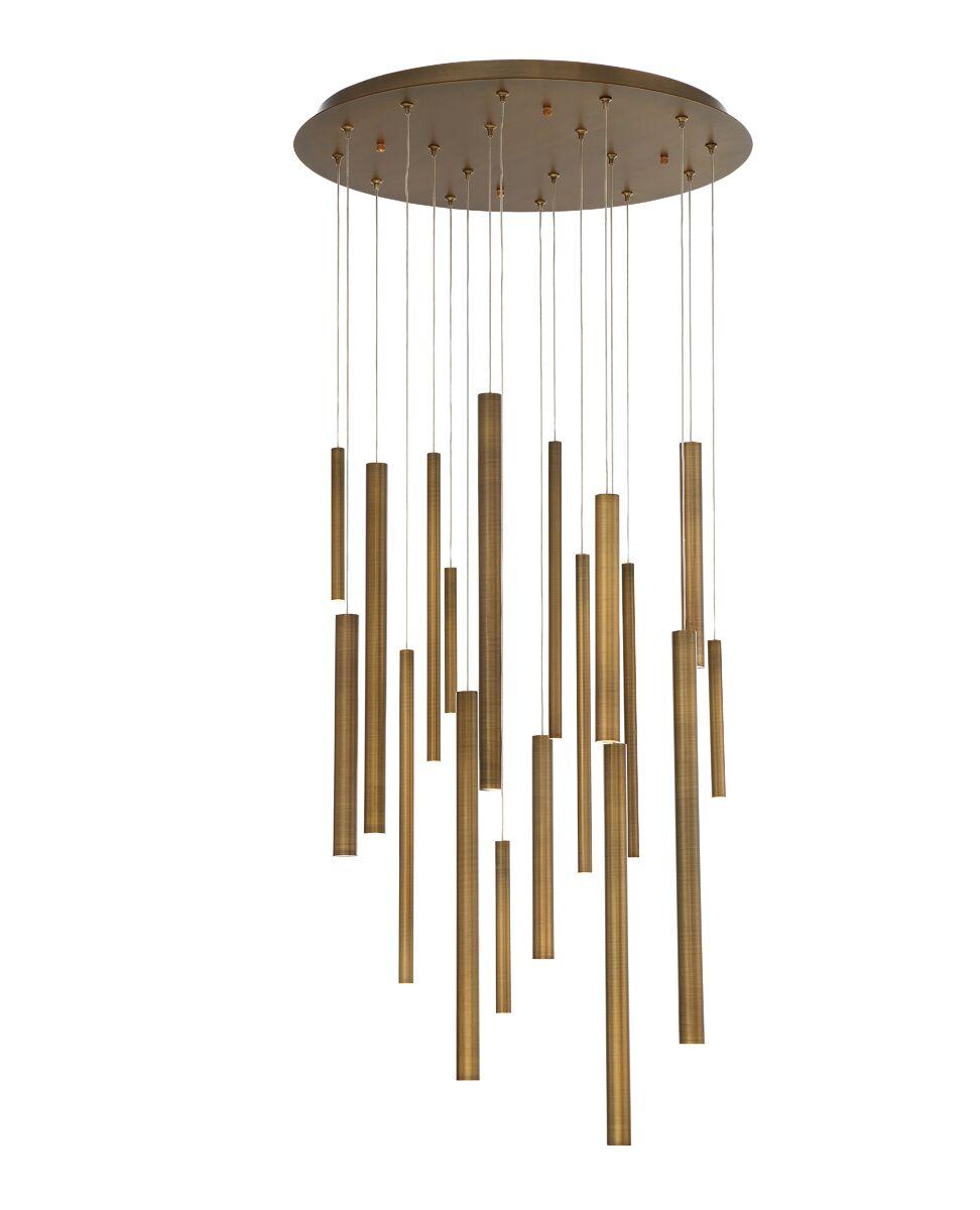 Lacie Tubes 18-Light  LED  Pendant Shade Color: Brass
