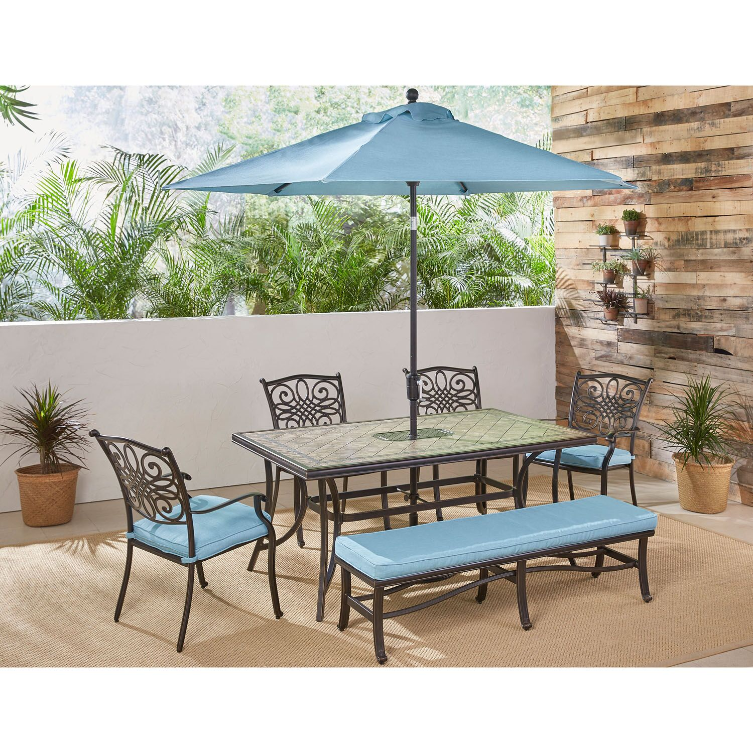 Bucci 7 Piece Dining Set Color: Blue