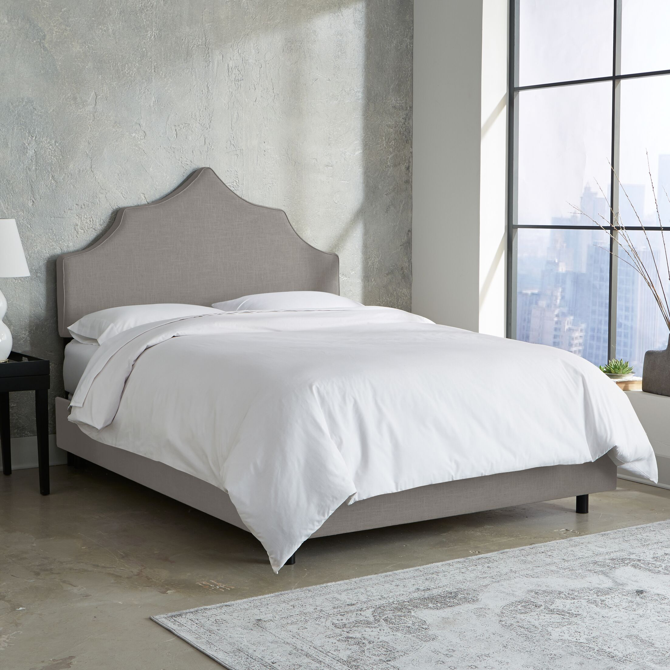 Suttons Notched Upholstered Panel Bed Size: Twin, Color: Grey