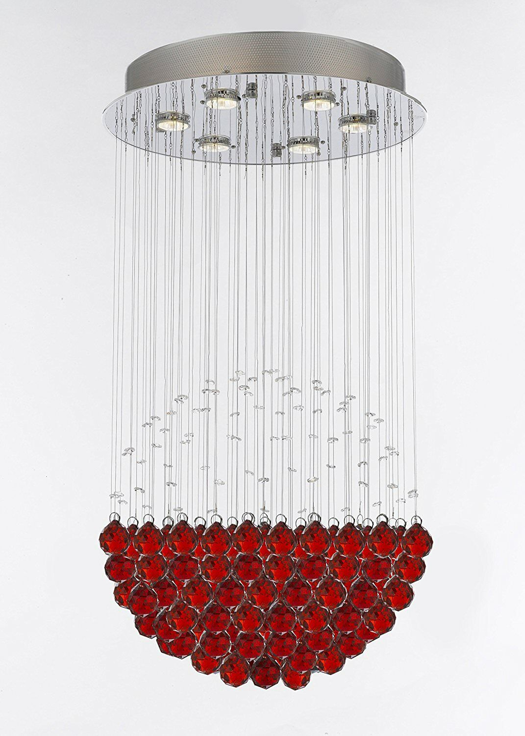 Wells Modern Raindrop 6-Light Chandelier Crystal Color: Red