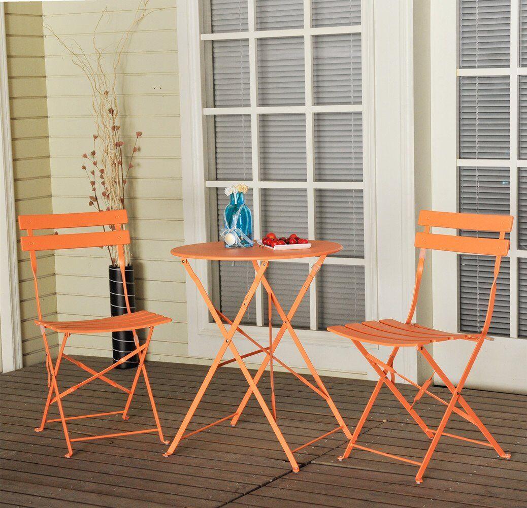 Vanwyk 3 piece Bistro Set Color: Orange