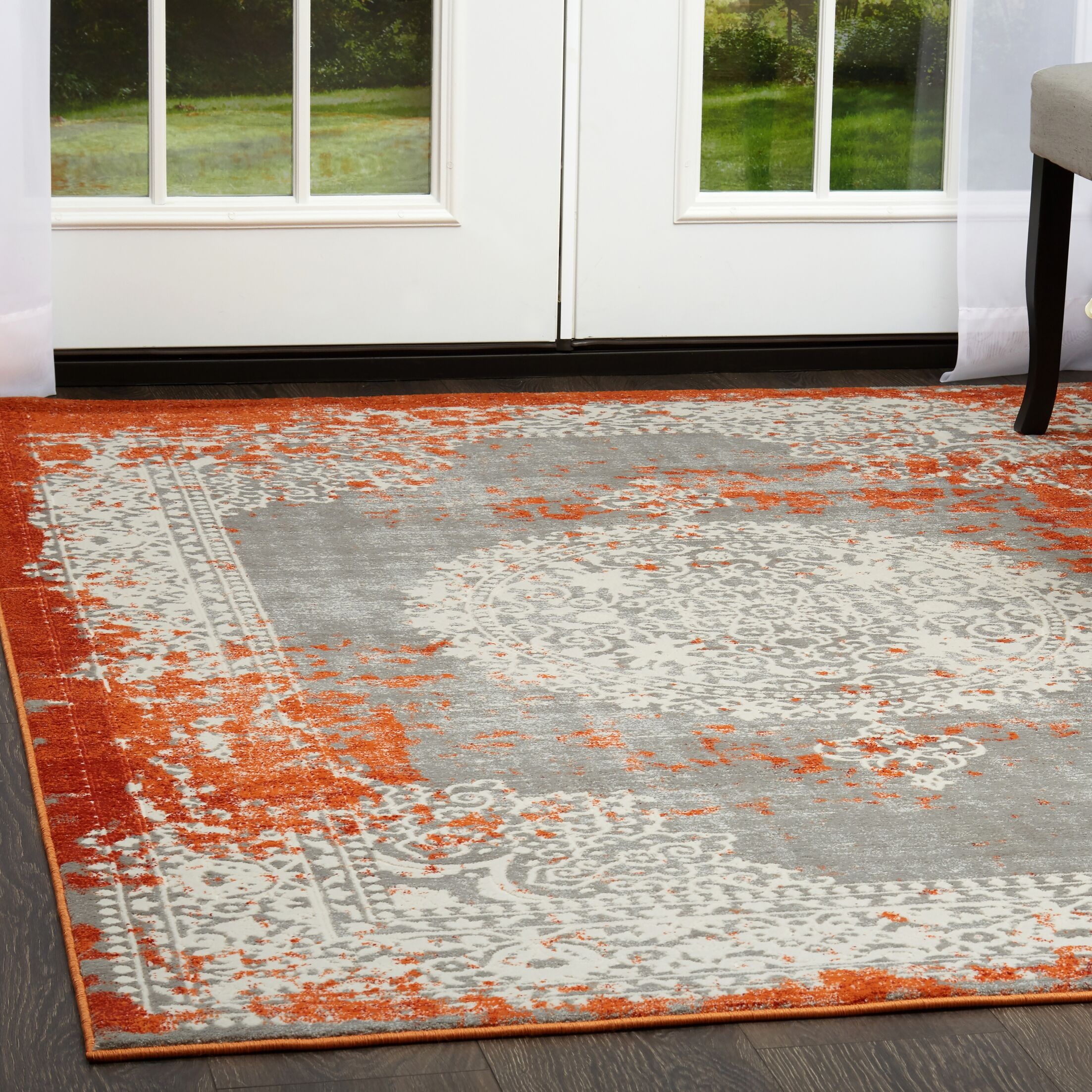 Gidley Gray/Terracotta Area Rug Rug Size: Rectangle 2'7