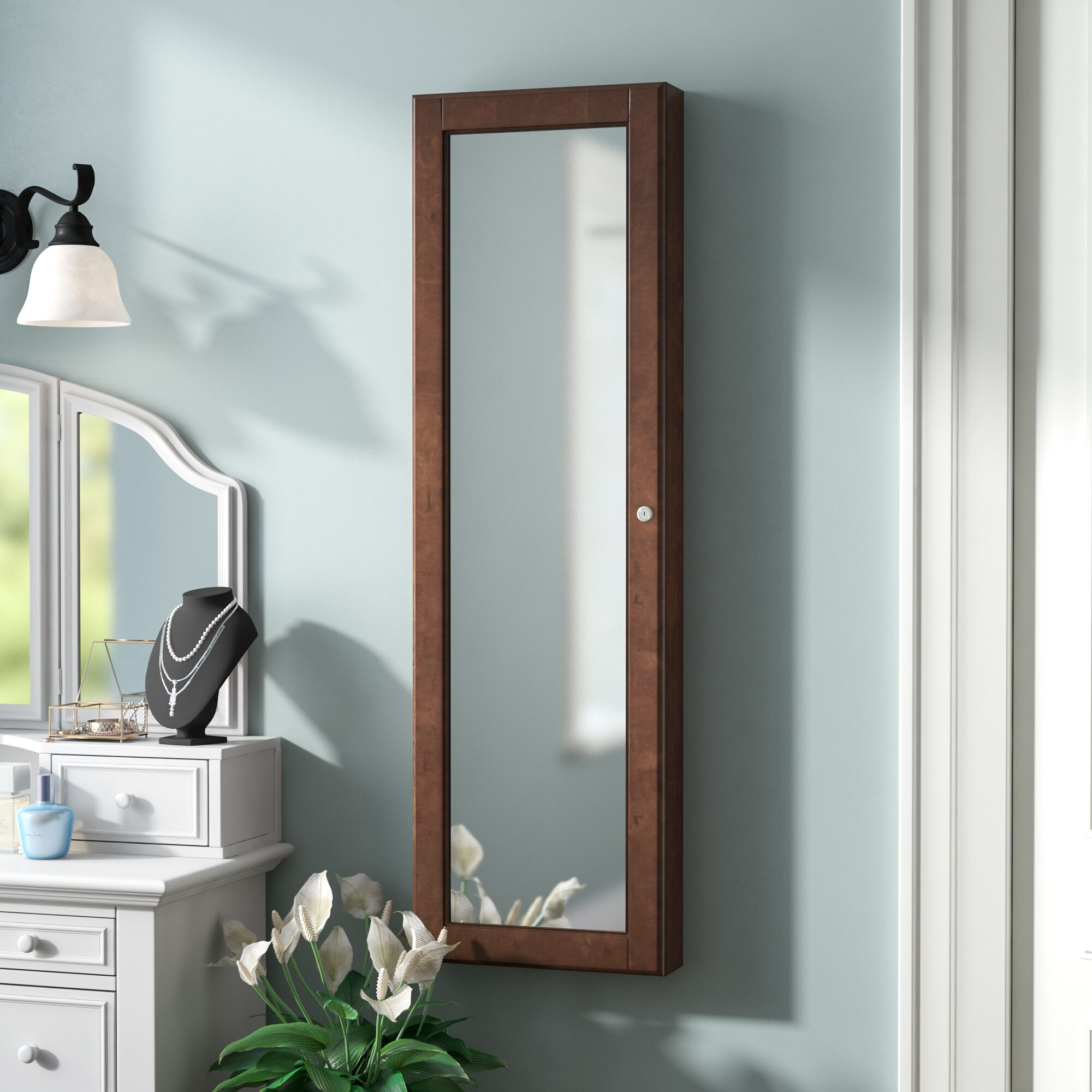 Chauncey Wall-Mounted Jewelry Armoire with  Mirror Color: Warm Walnut