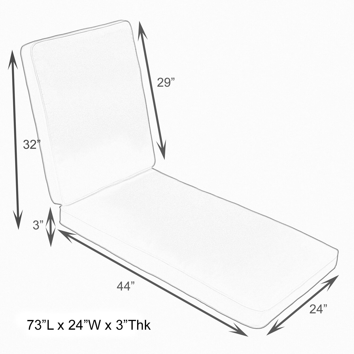 Hinged Outdoor Chaise Lounge Cushion Size: 24