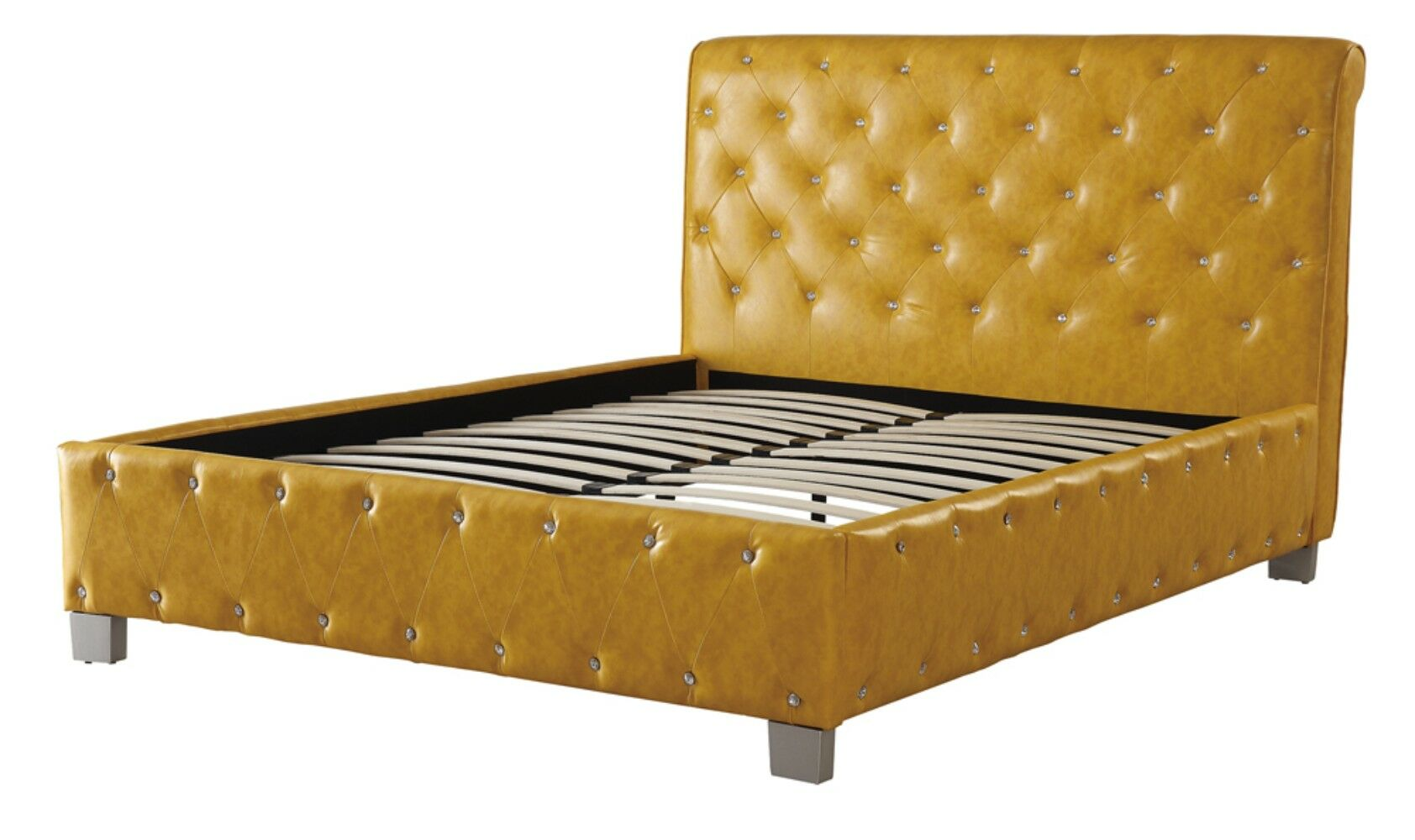 Desirae Polyurethane Upholstered Panel Bed Color: Citrus Yellow, Size: Eastern King