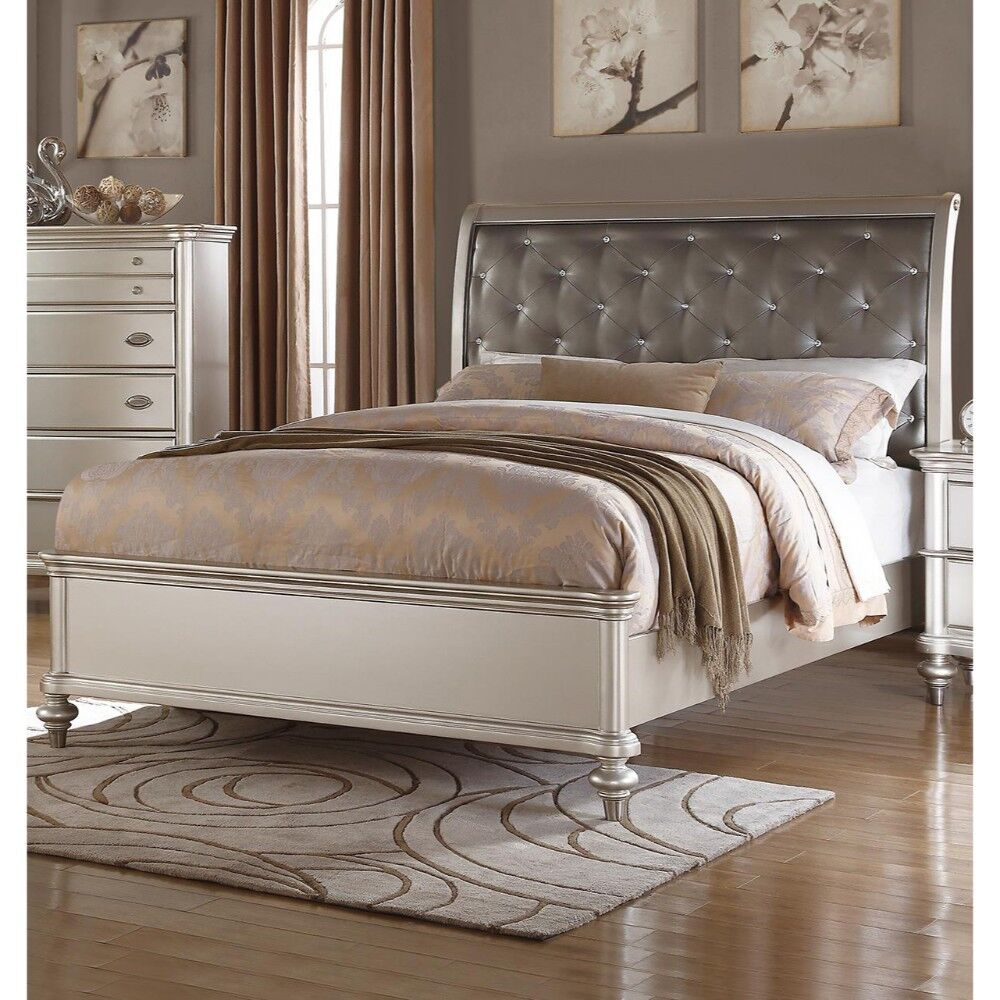 Loucks Wooden Upholstered Sleigh Bed Size: California King, Color: Silver